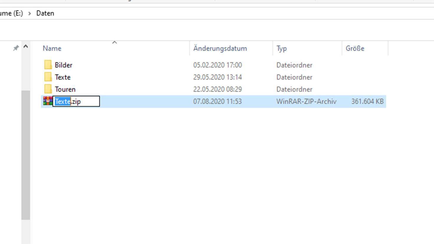 Zip-Datei unter Windows erstellen: Datei umbenennen