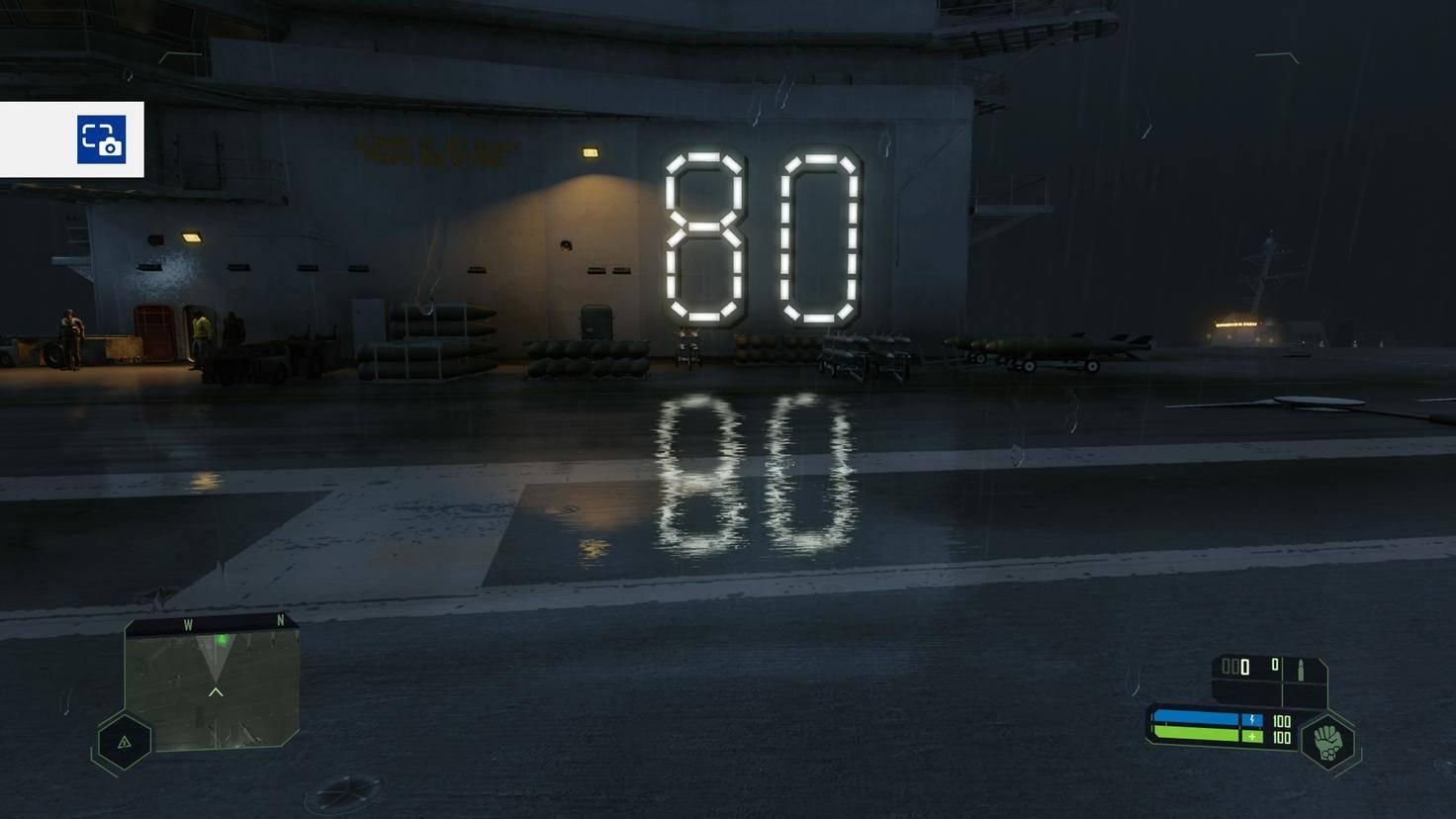 """In """"Crysis Remastered"""" wird der Schriftzug """"80"""" via Raytracing auf dem Boden gespiegelt."""