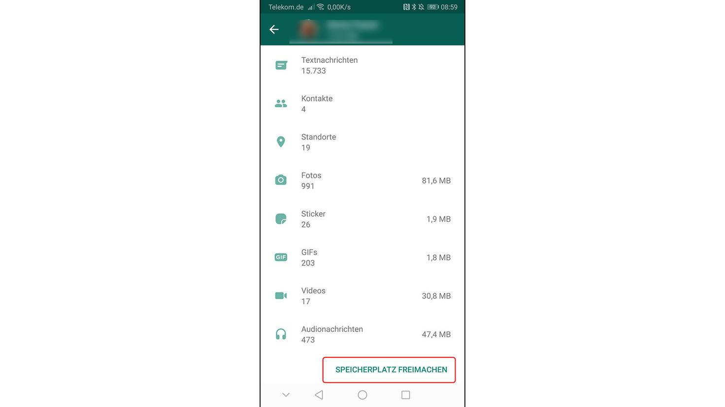Datennutzung Whatsapp