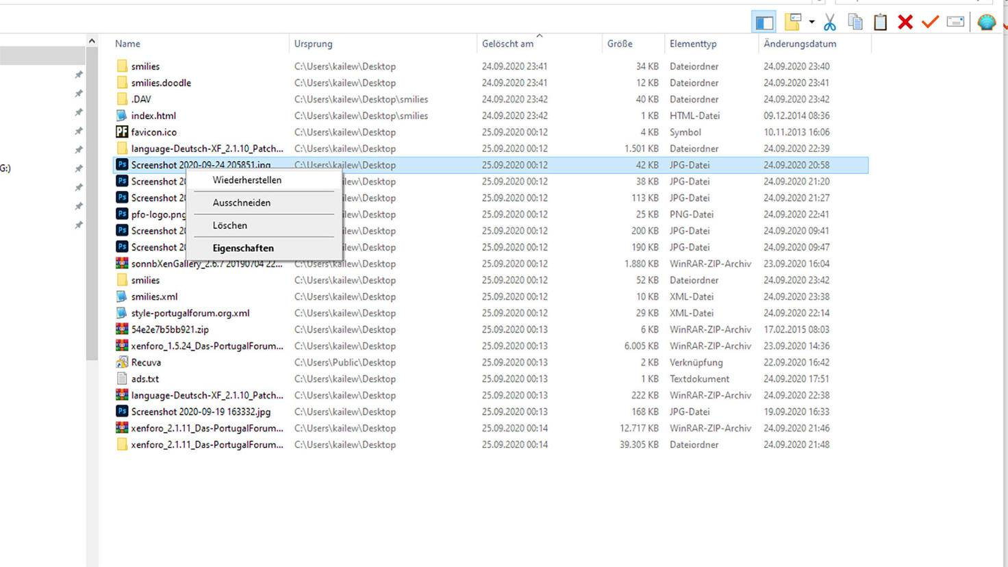 Windows Papierkorb Datei wiederherstellen