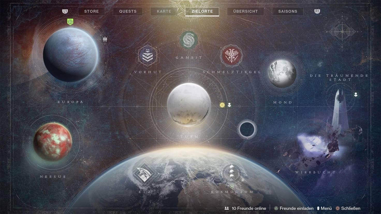 Destiny 2 Jenseits des Lichts Karte mit Zielorten