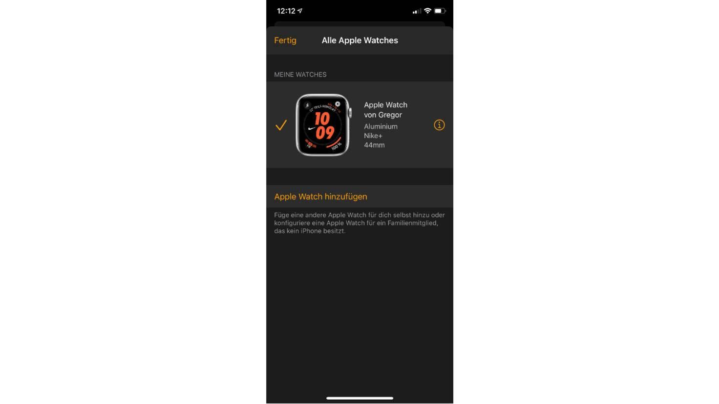 i-Symbol auf Apple Watch