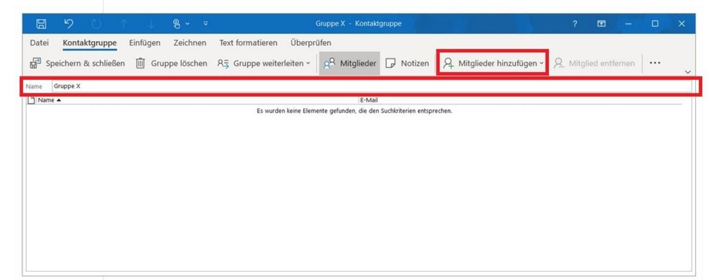 Outlook-Kontaktgruppe