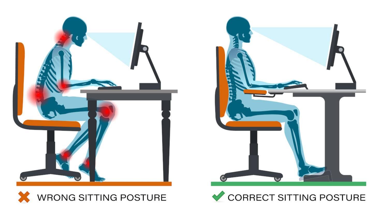 Sitzhöhe beim Arbeiten am Schreibtisch
