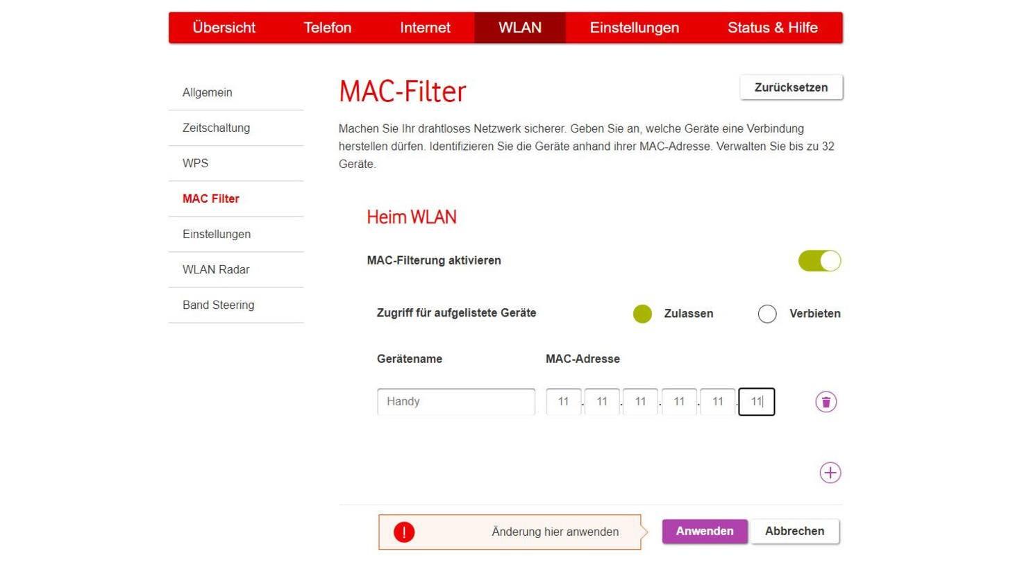 router-mac-adressen-filter