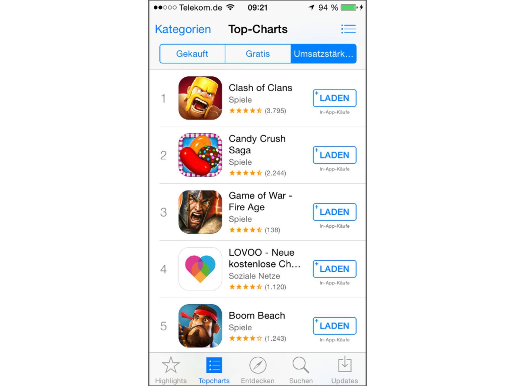 """Im App Store wurde die Bezeichnung """"Gratis"""" durch """"Laden"""" ersetzt."""