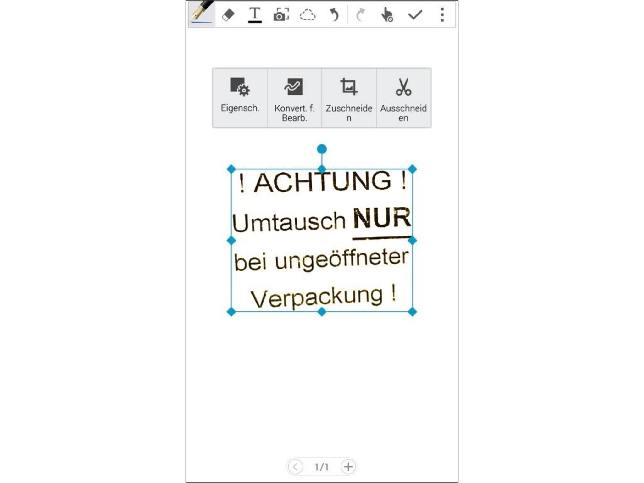 Nach dem Auslösen zeigt das Note 4 den Inhalt auf weißem Hintergrund an.