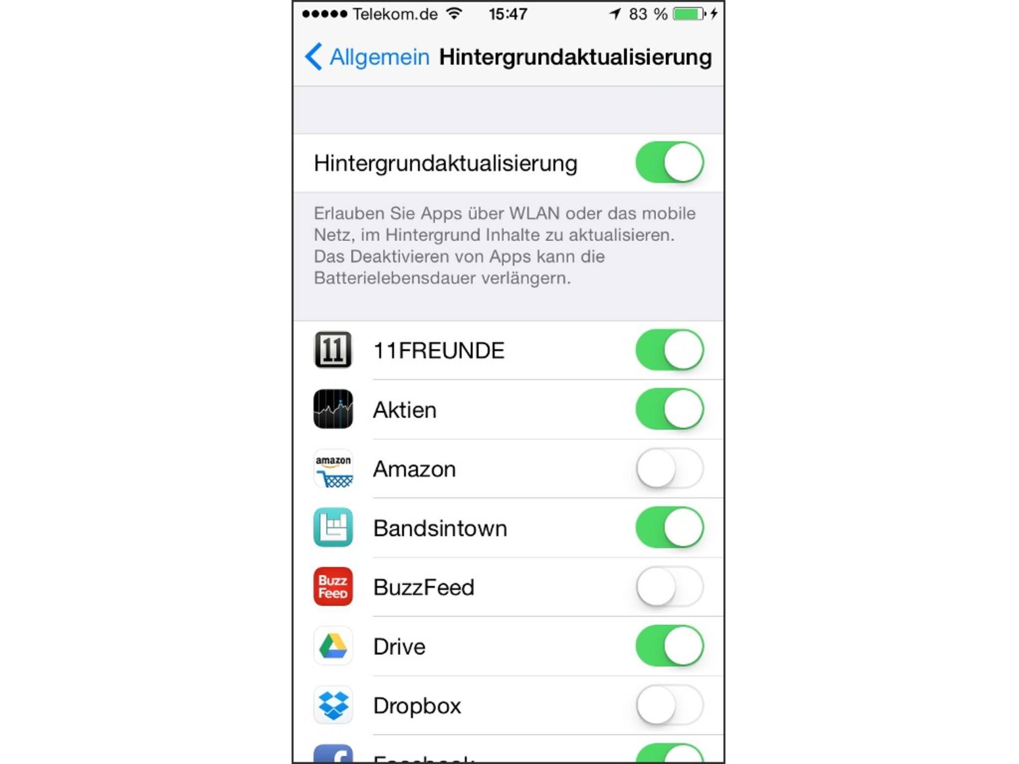 Hintergrundaktualisierungen sind auf dem iPhone wahreVolumen-Fresser.