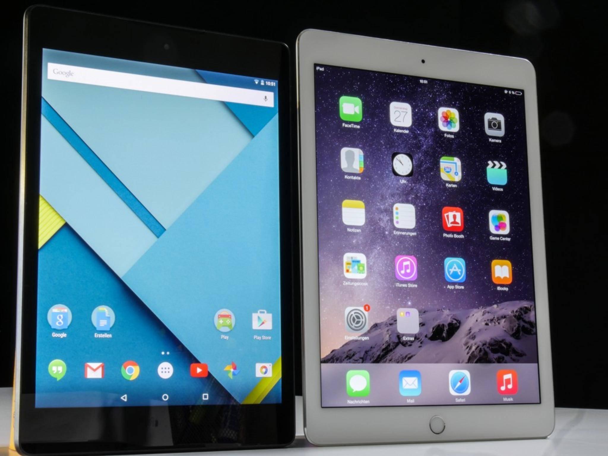 Das Nexus 9 ist mit 8,9 Zoll in der Diagonalen deutlich kleiner als das iPad Air 2...