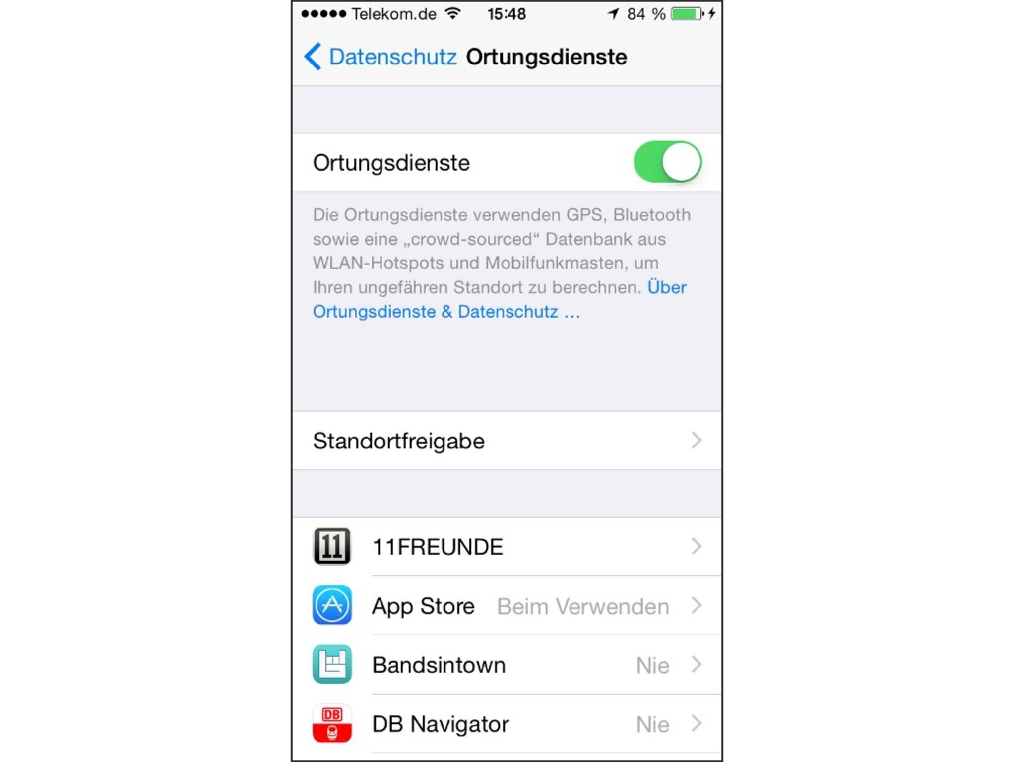 Ortungsdienste für Apps wie Google Maps oder Facebook beanspruchen das iPad.