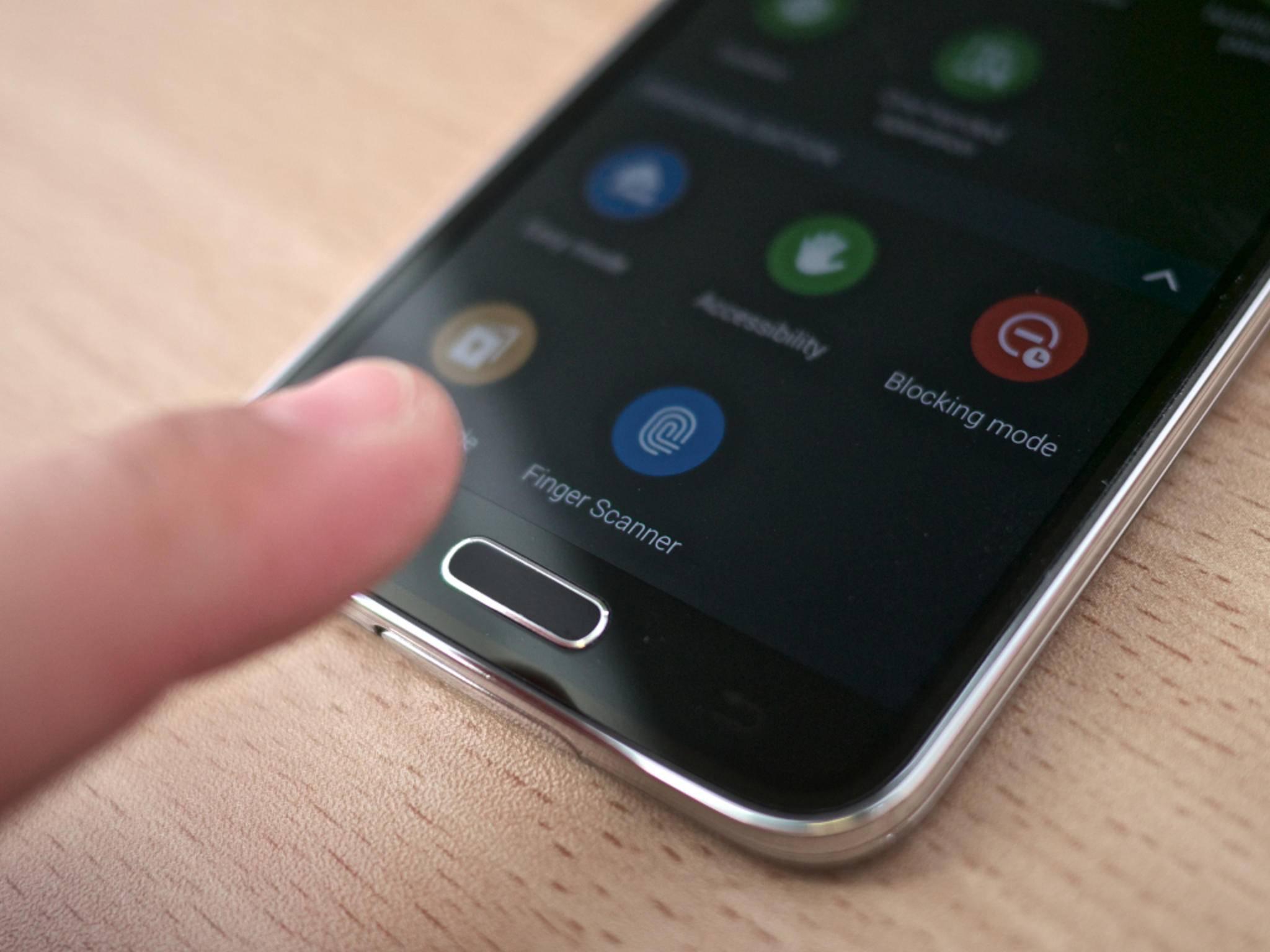 Fingerabdruck-Scanner des Samsung Galaxy S5