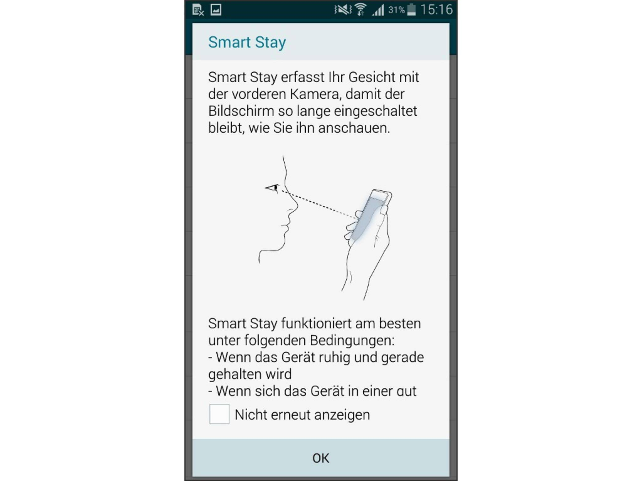 Smart Stay erkennt, wann Du auf den Screen schaust.