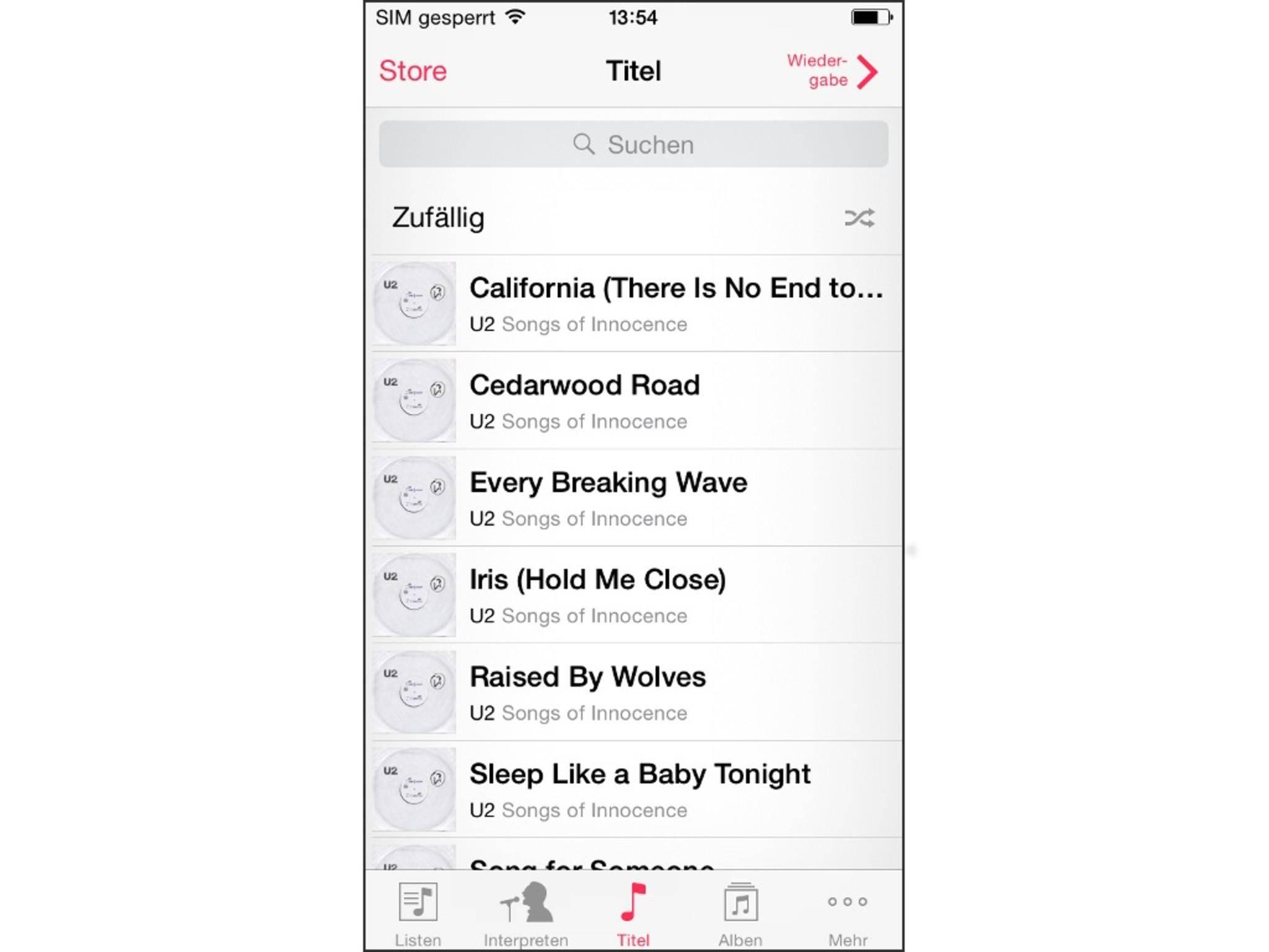 Die Musik-App listet sämtliche Songs auf dem iPhone auf.