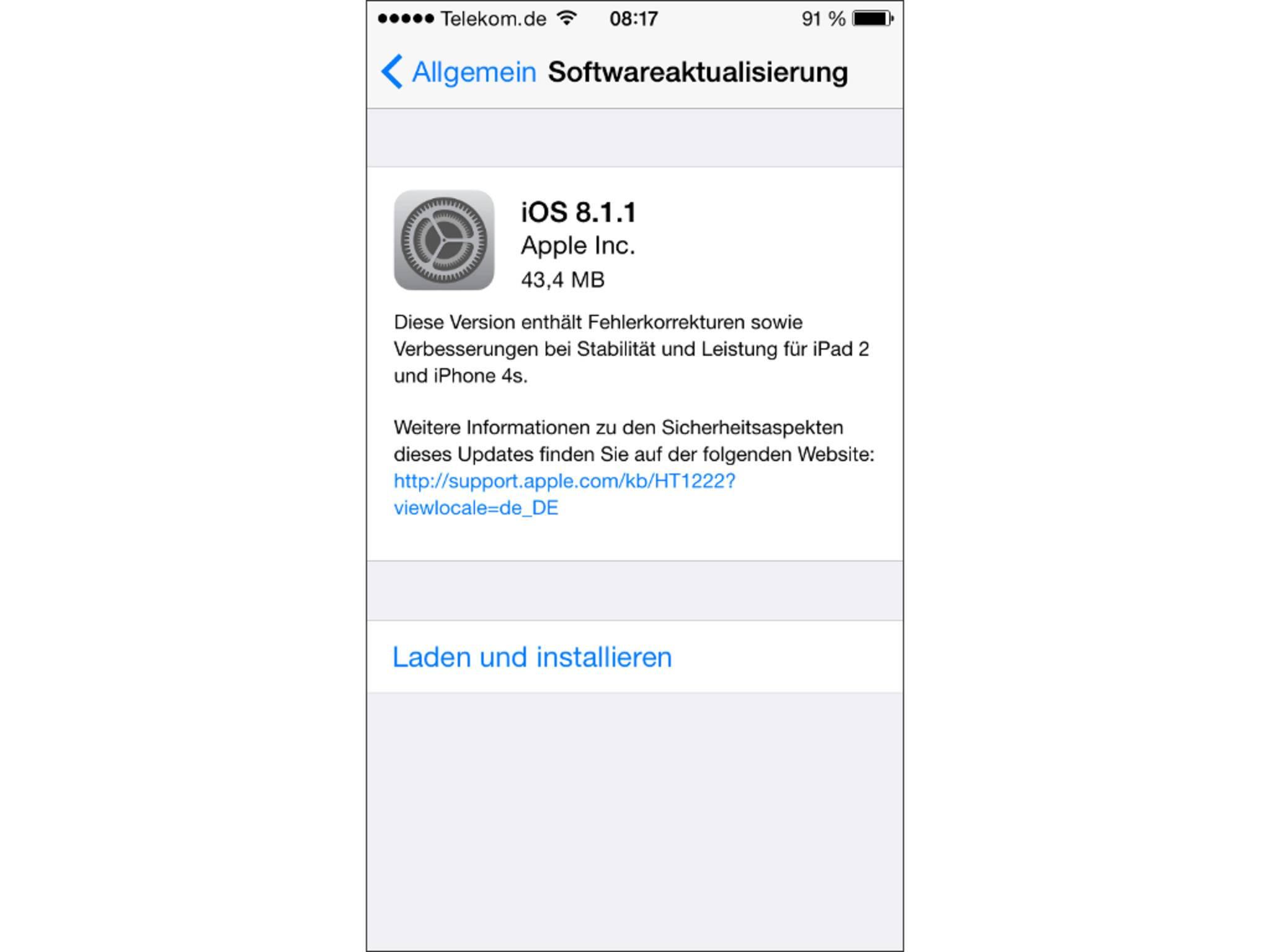 Nach der Installation von iOS 8.1.1 ist ein Downgrade auf iOS 8.1 künftig nicht mehr möglich.