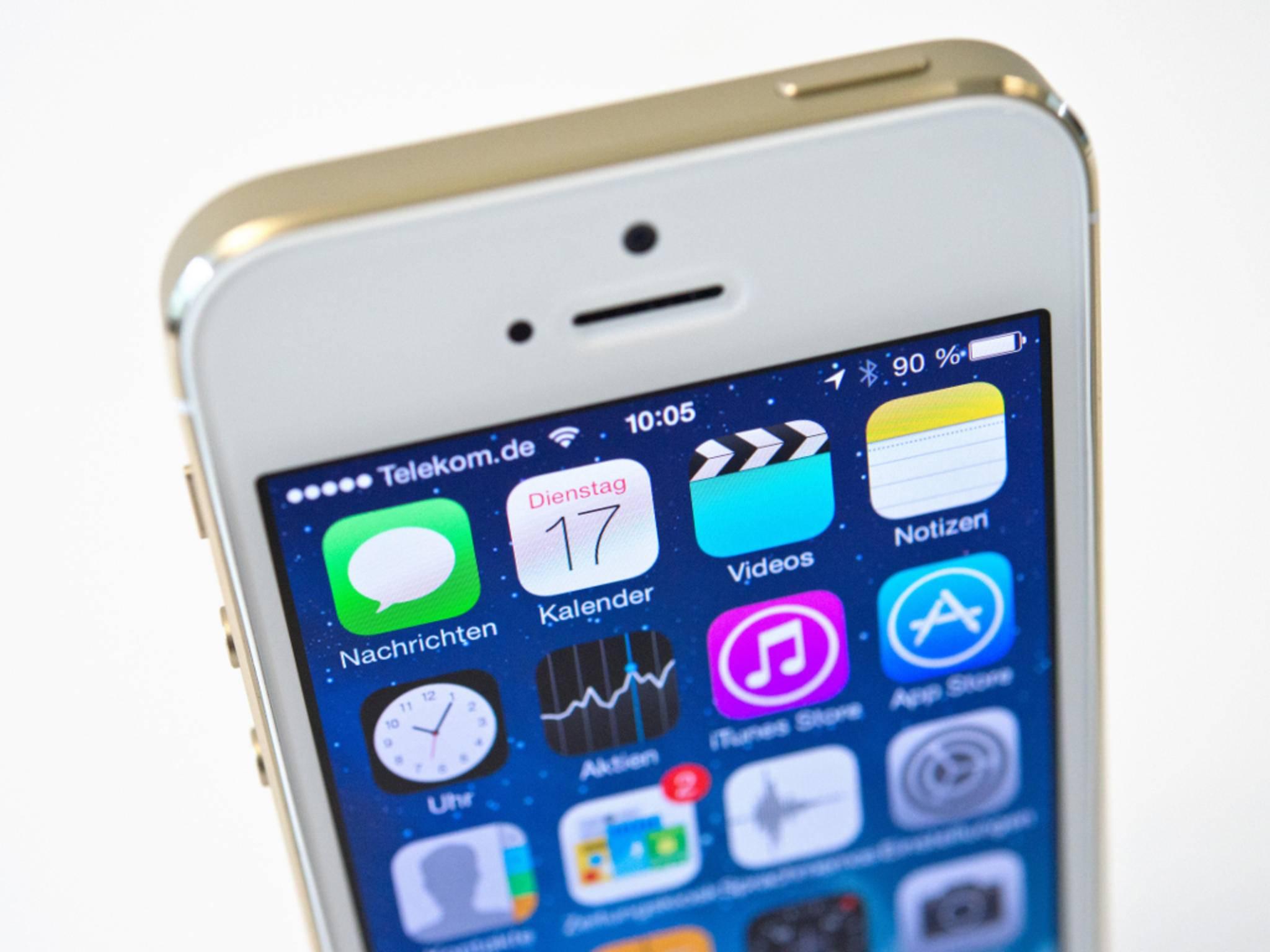 iOS-Oberfläche auf dem iPhone 5s