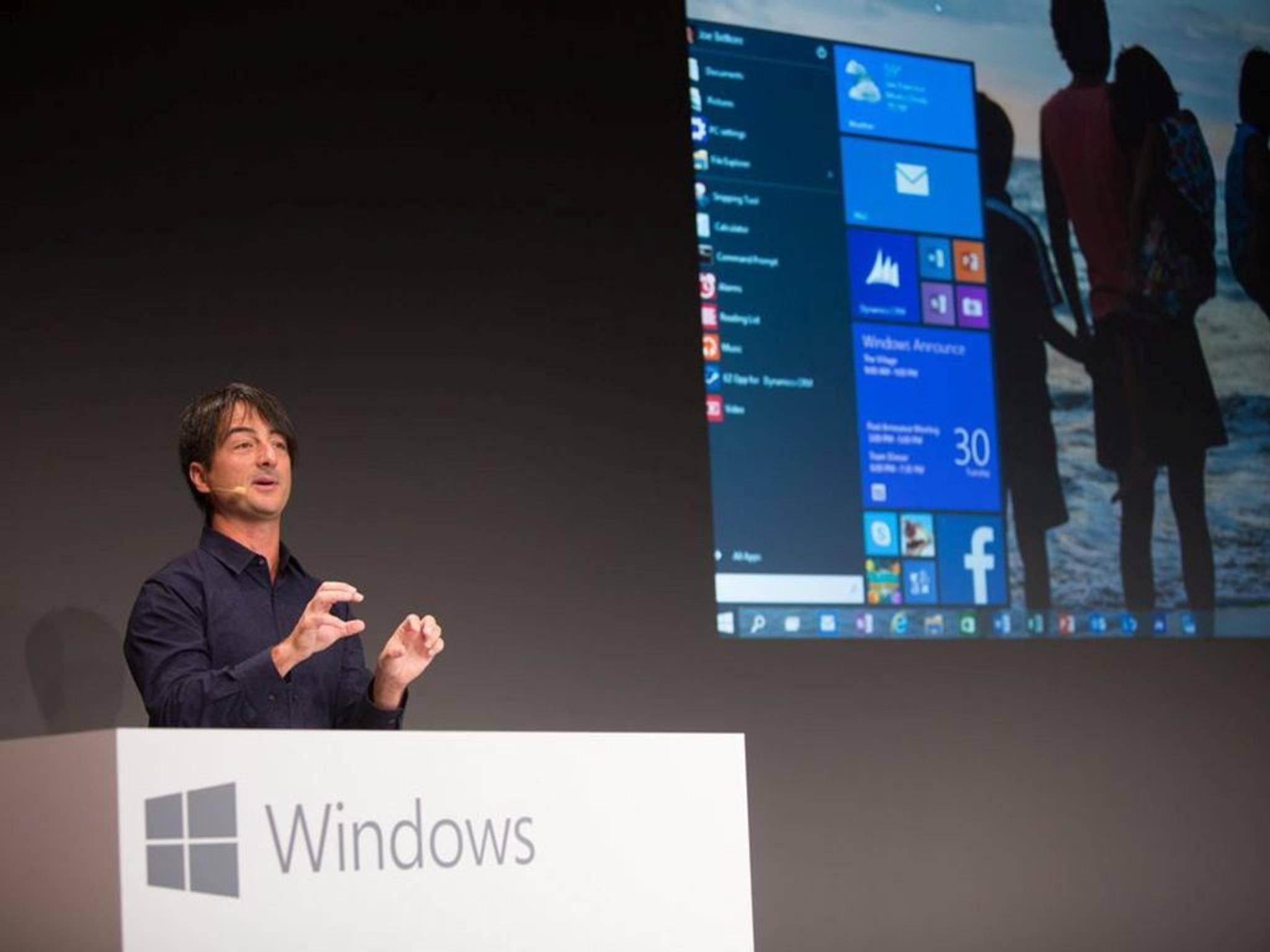 Wird er Spartan enthüllen? Microsofts Vize Joe Belfiore bei der ersten Vorstellung von Windows 10.