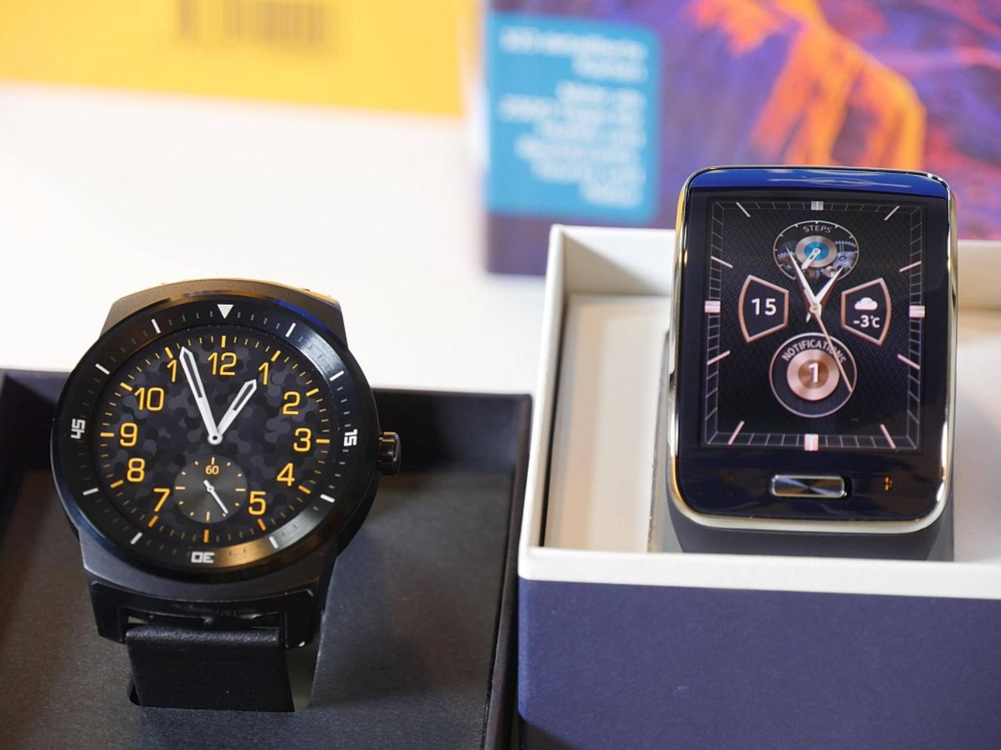 Die LG G Watch R und die Samsung Gear S haben noch keinen Mainstream-Status.