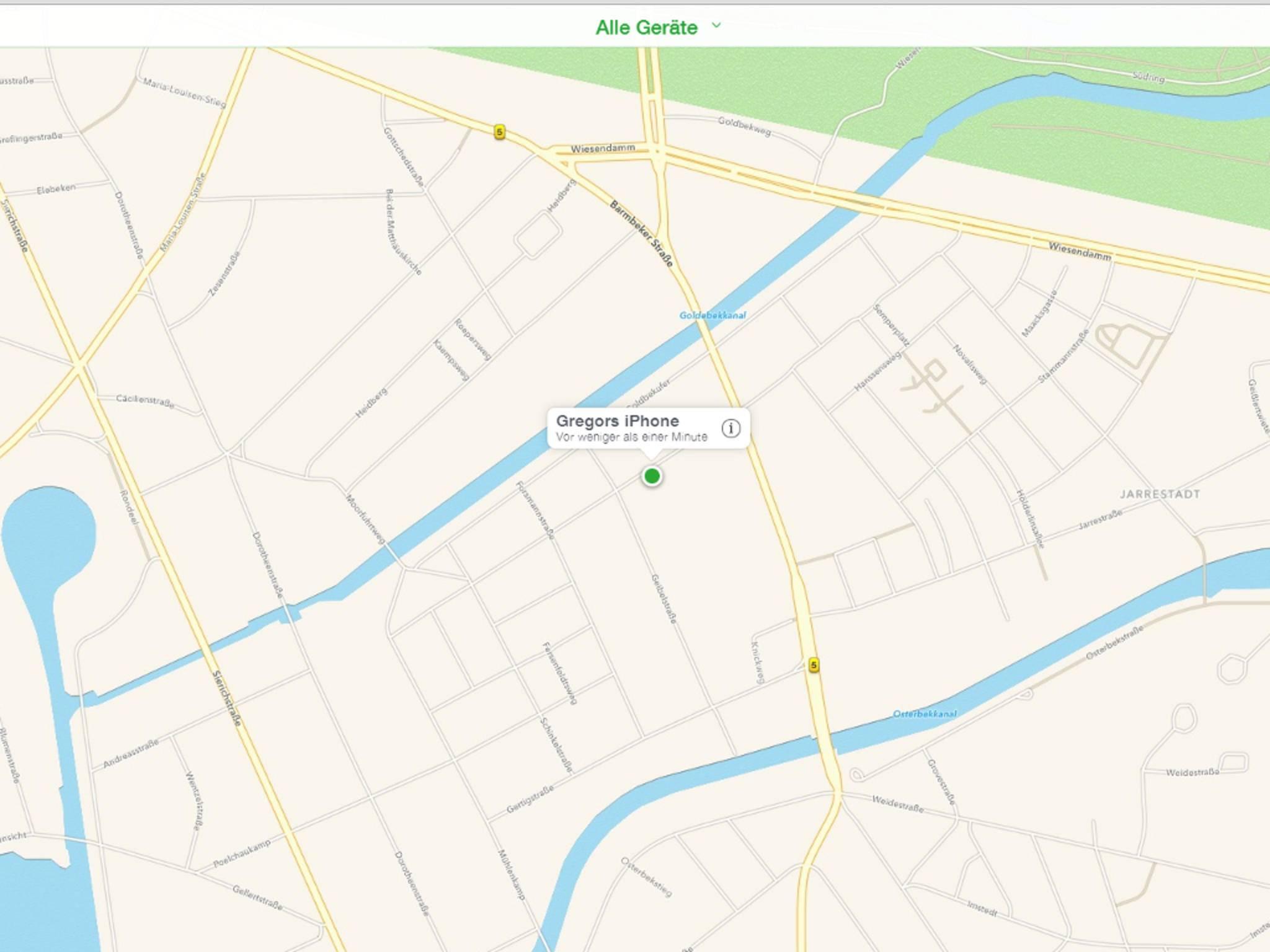 Auf der iCloud-Seite lässt sich die Position des iPhones anzeigen.