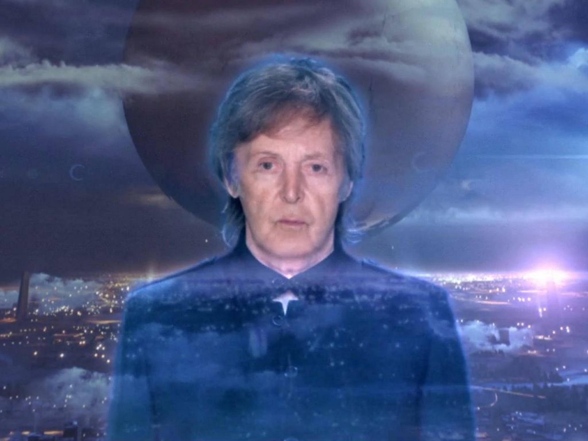 """Ein Ex-Beatle als Hologramm: Sir Paul McCartney im Musikvideo zum Spiel """"Destiny""""."""