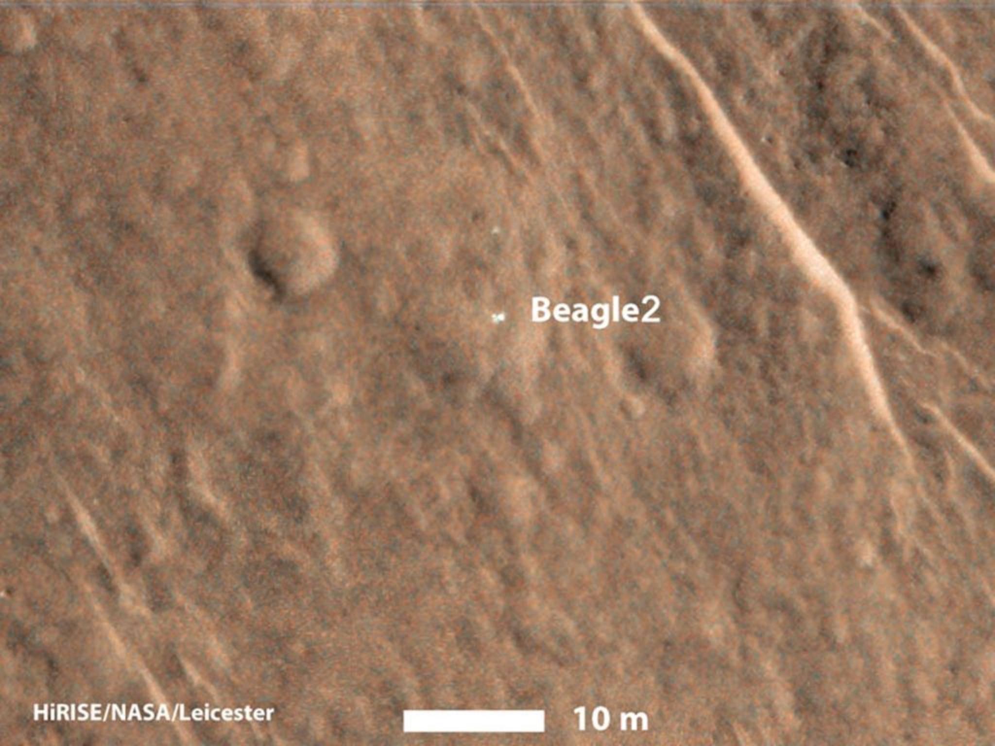 Foto von Beagle 2 auf der Marsoberfläche.