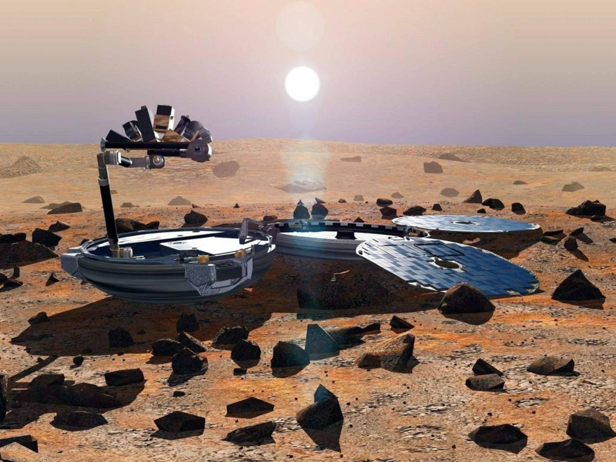 So wie in diesem Konzeptbild hätte Beagle 2 auf dem Mars arbeiten sollen.