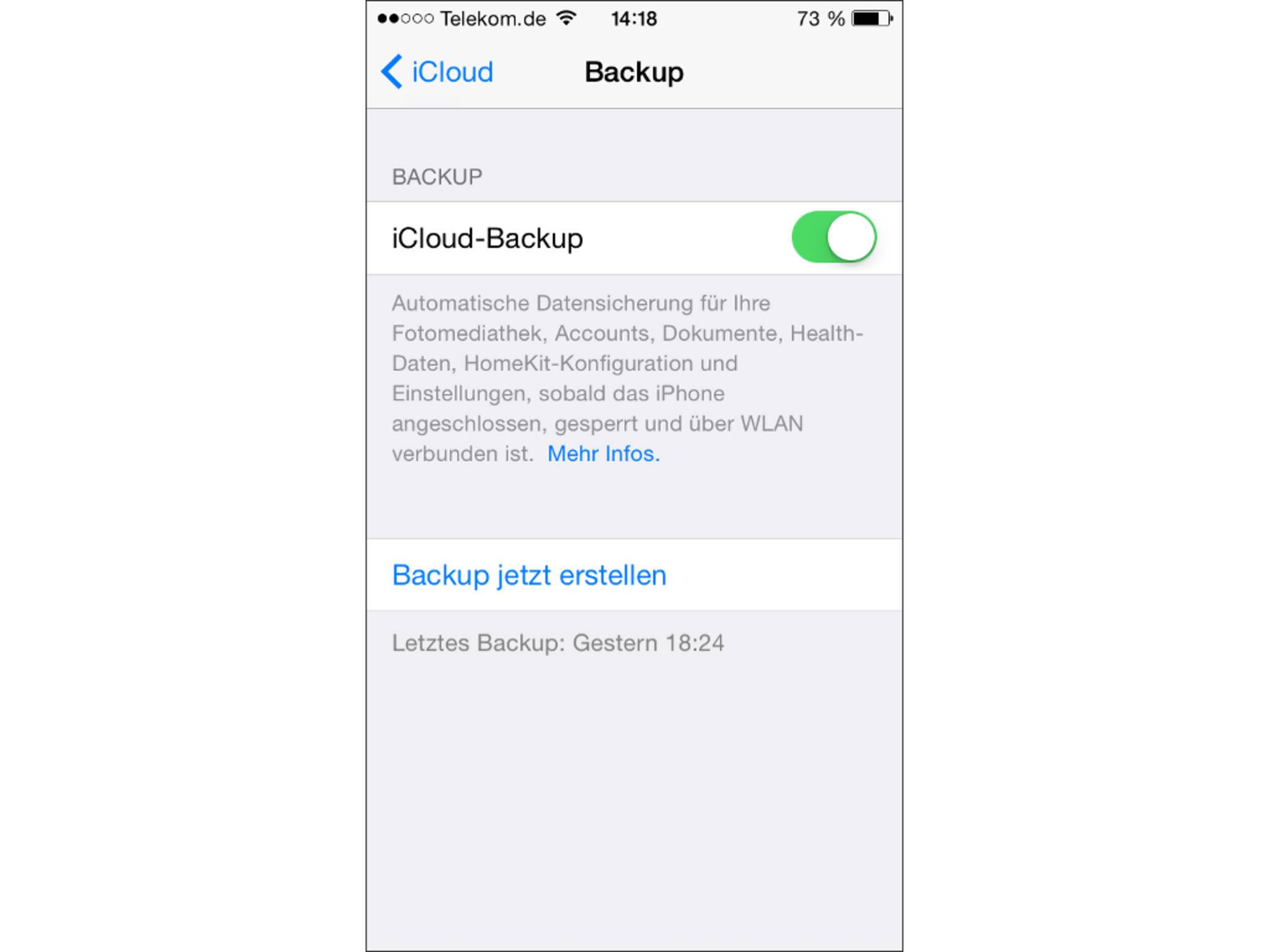 Einmal aktiviert, legt iCloud jeden Tag ein Backup an.