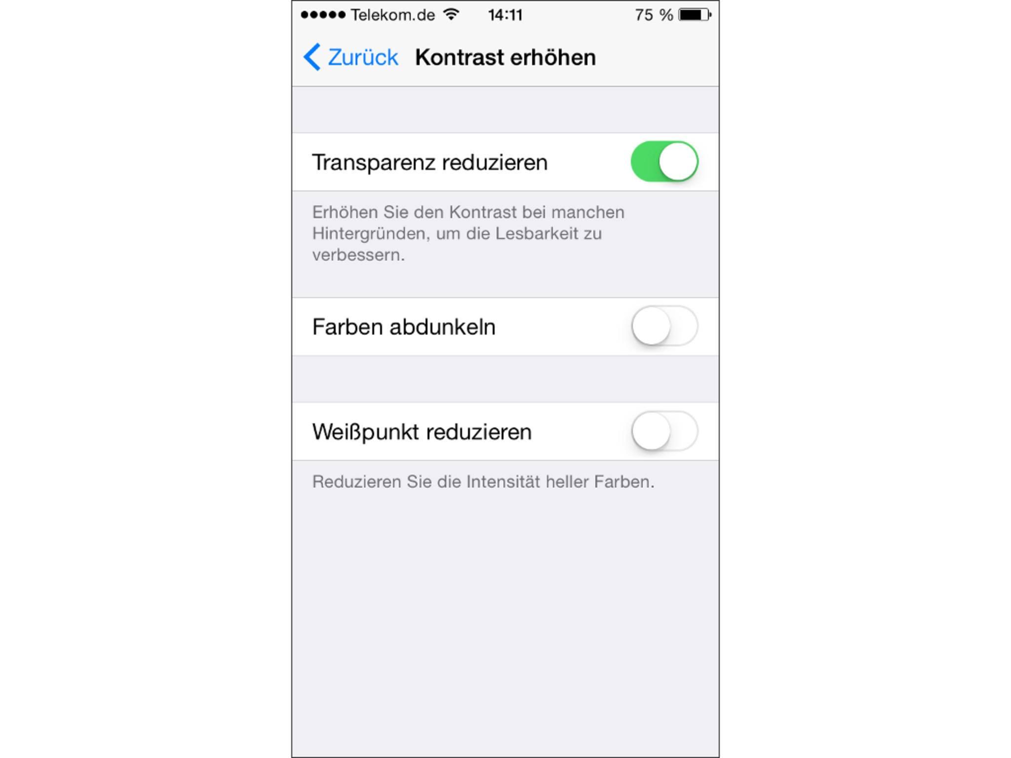 Transparenz-Effekte können iOS langsamer machen.