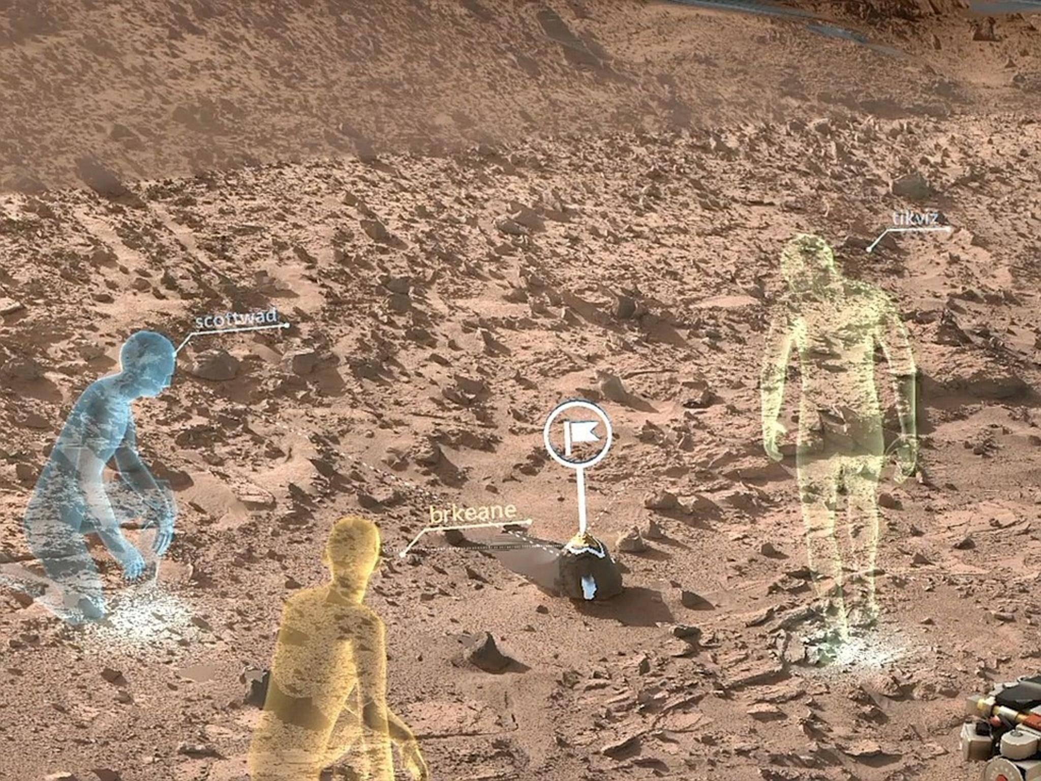 Mit der HoloLens kann die NASA virtuelle Marsspaziergänge unternehmen.