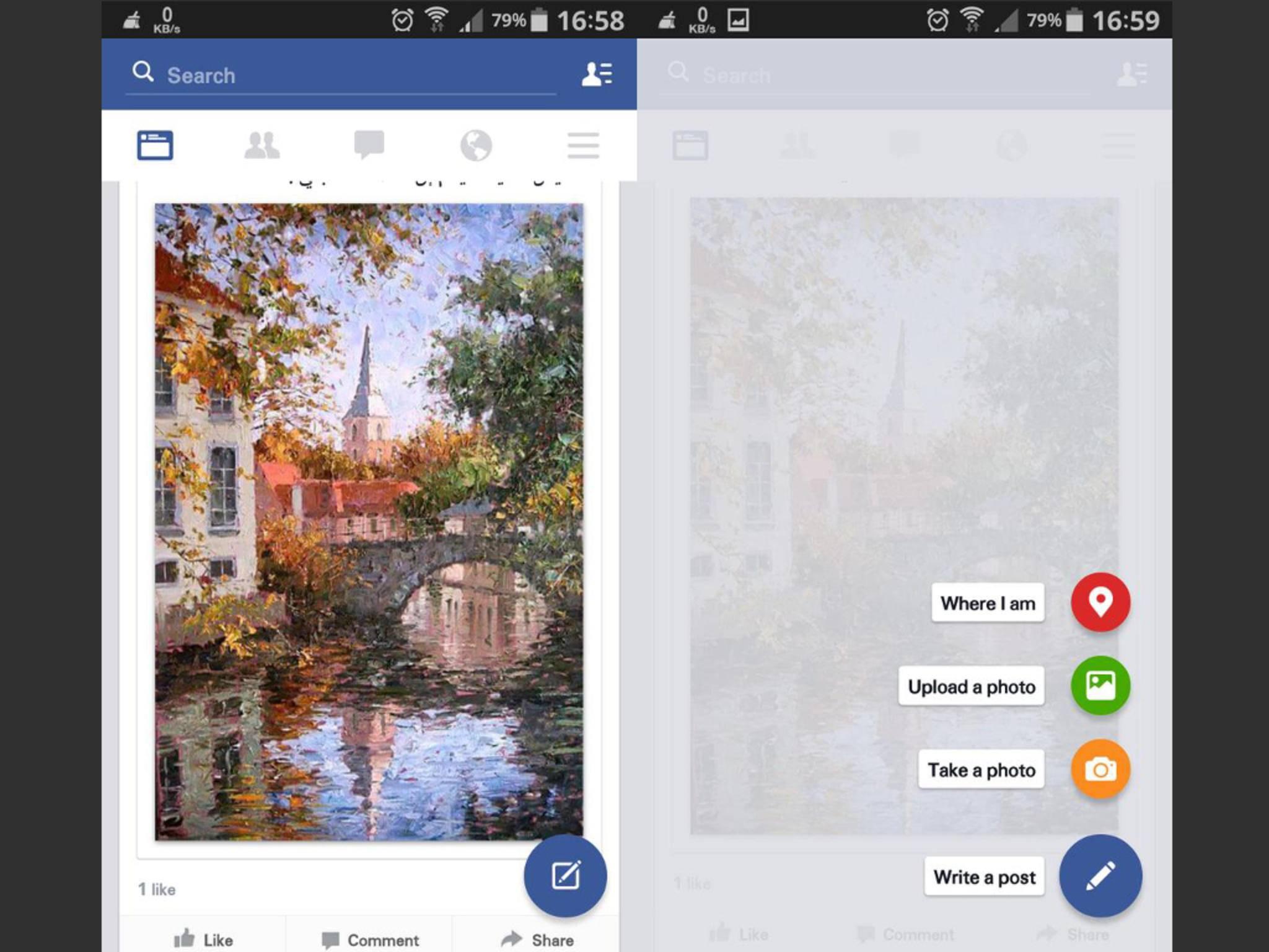 So soll das neue Material Design für die Android-App von Facebook aussehen.