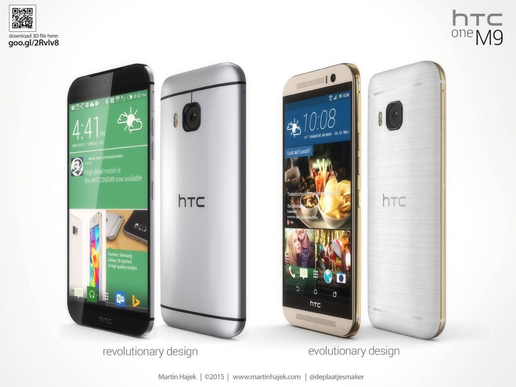 Designer Martin Hajek stellt HTC One M9-Leaks seinem Konzept-Design gegenüber.