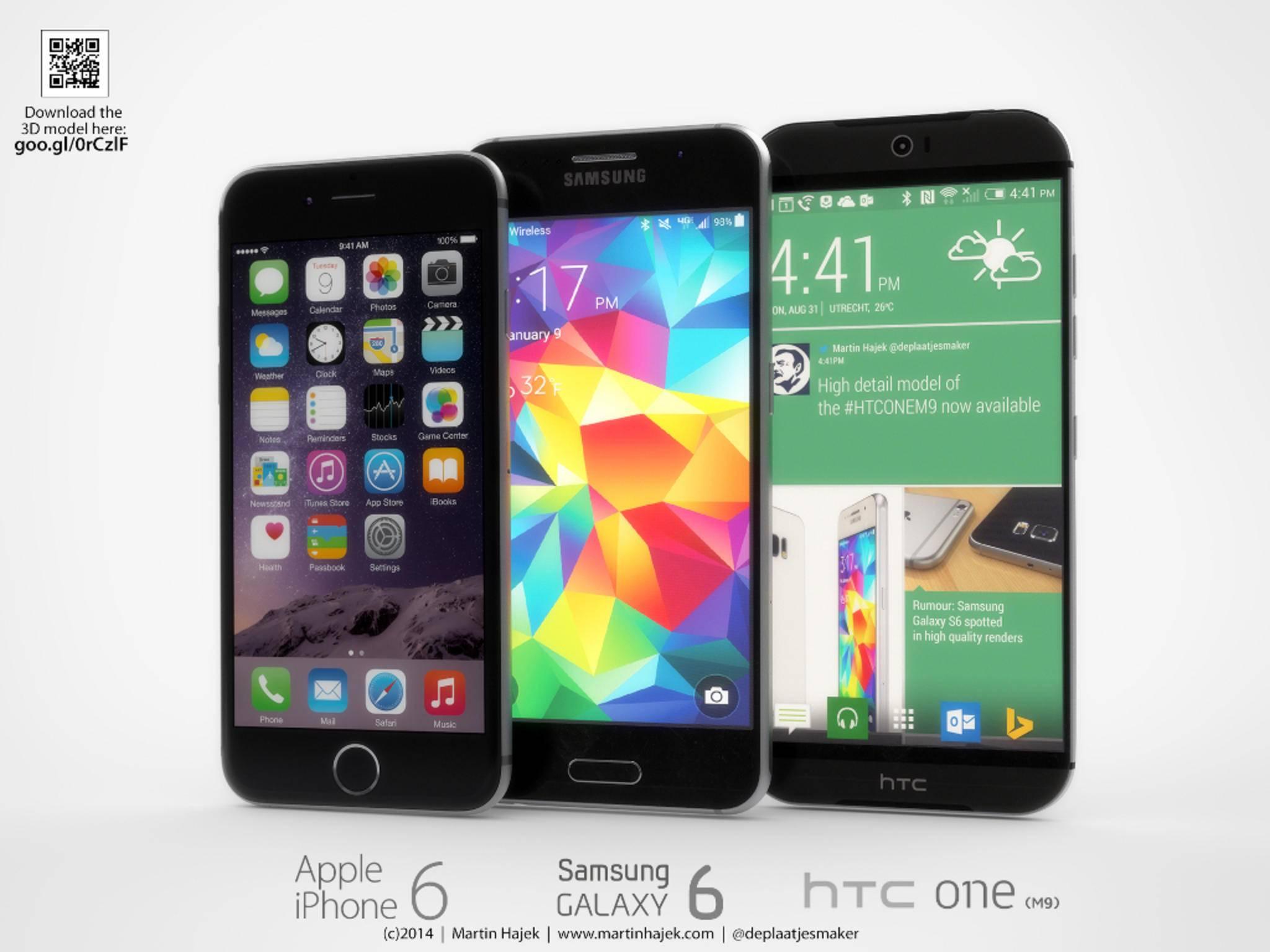 HTC One M9, Samsung Galaxy S6 und iPhone 6