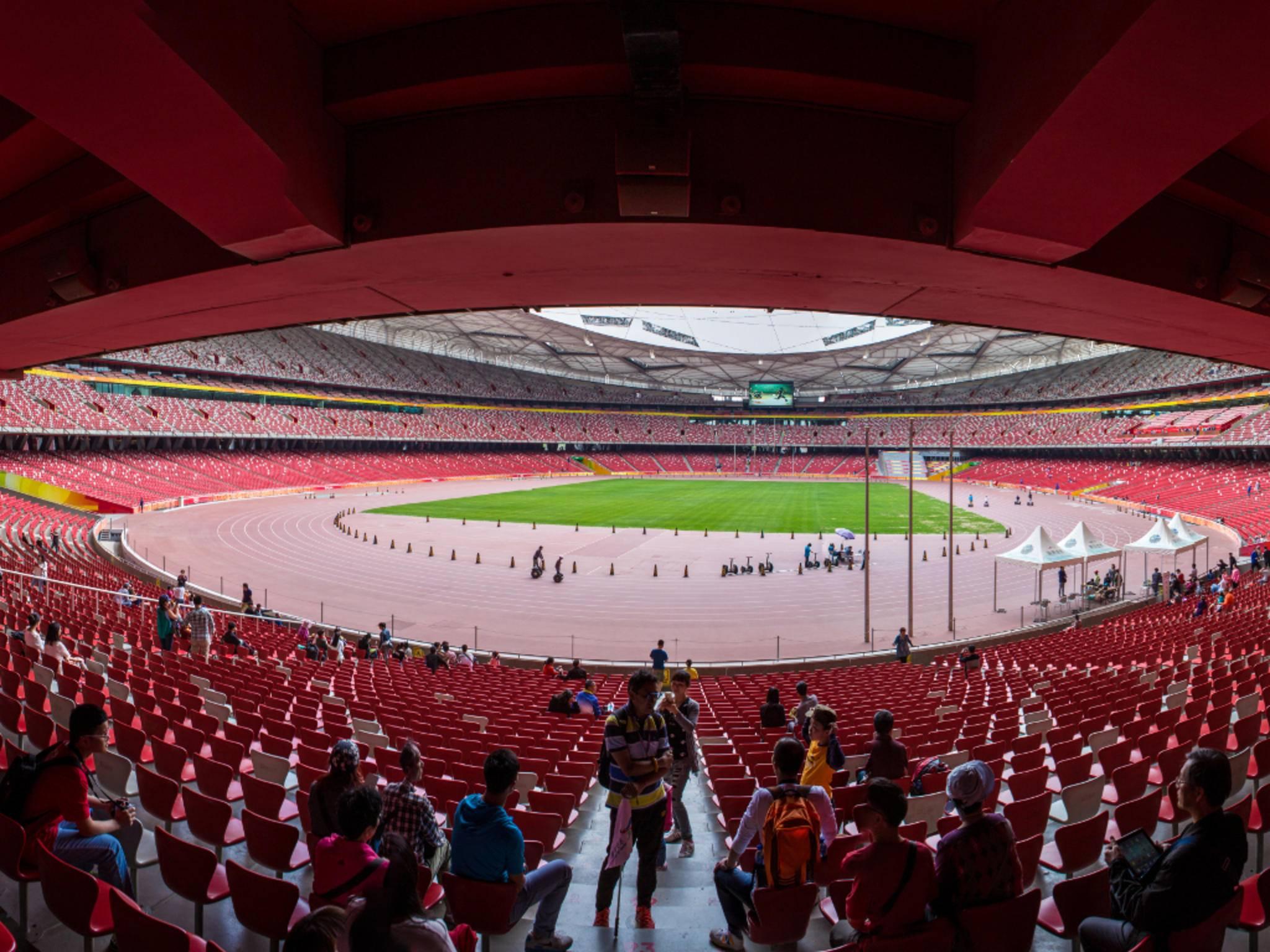Beeindruckend: ein Panoramafoto des Nationalstadions von Peking.