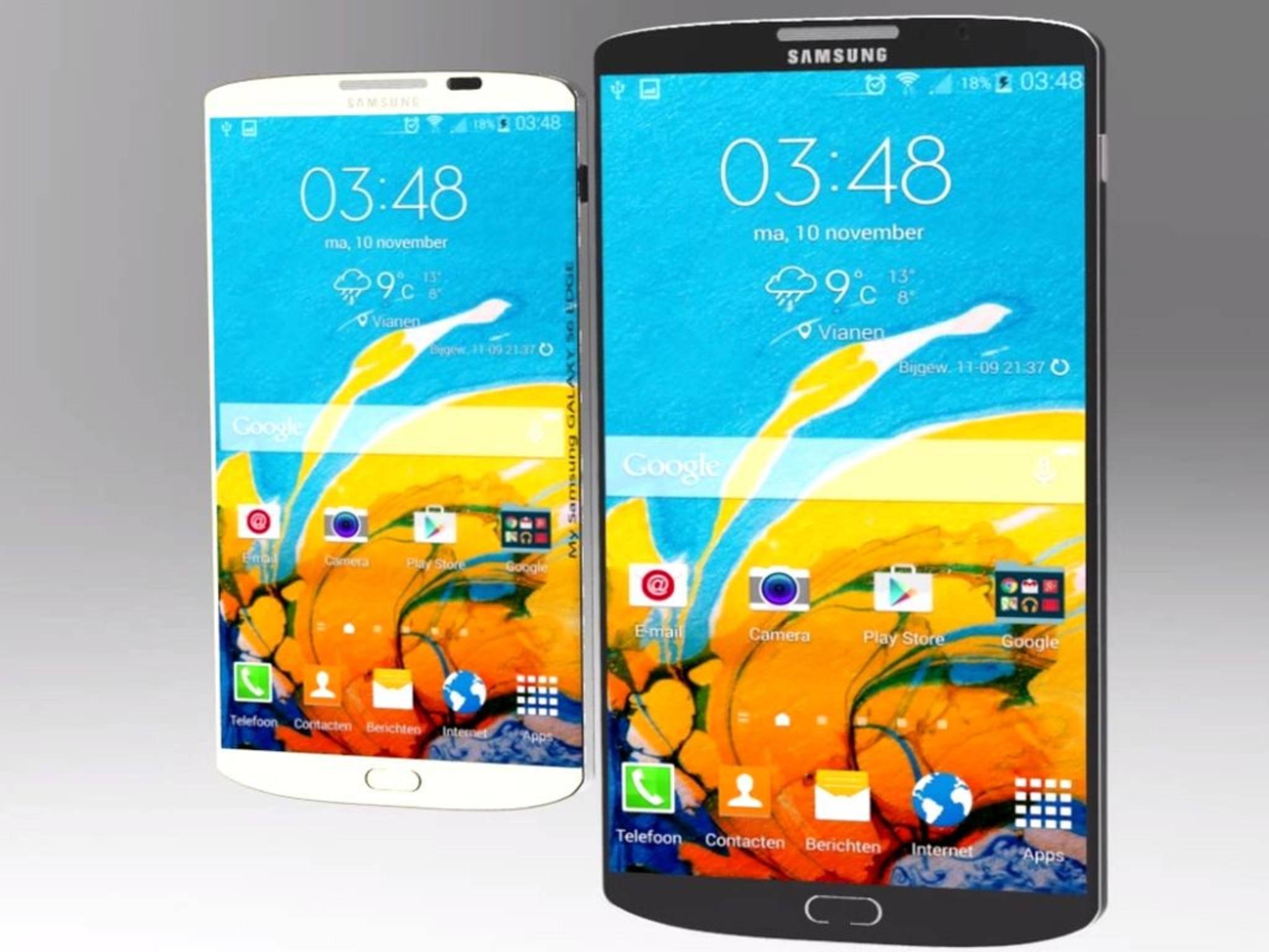 Große Dinge werfen ihre Schatten voraus: Das Samsungs Galaxy S6 und die Edge-Variante in einer Konzeptzeichnung.
