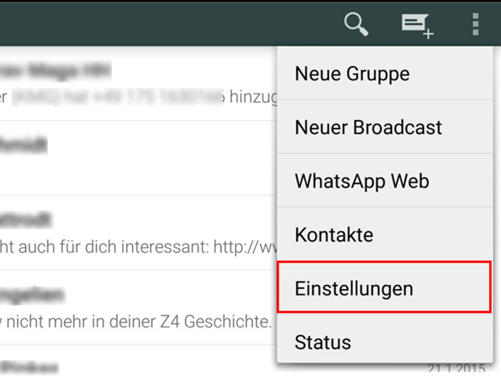 Um Kontakte unter Android zu blockieren, musst Du in die Einstellungen gehen...