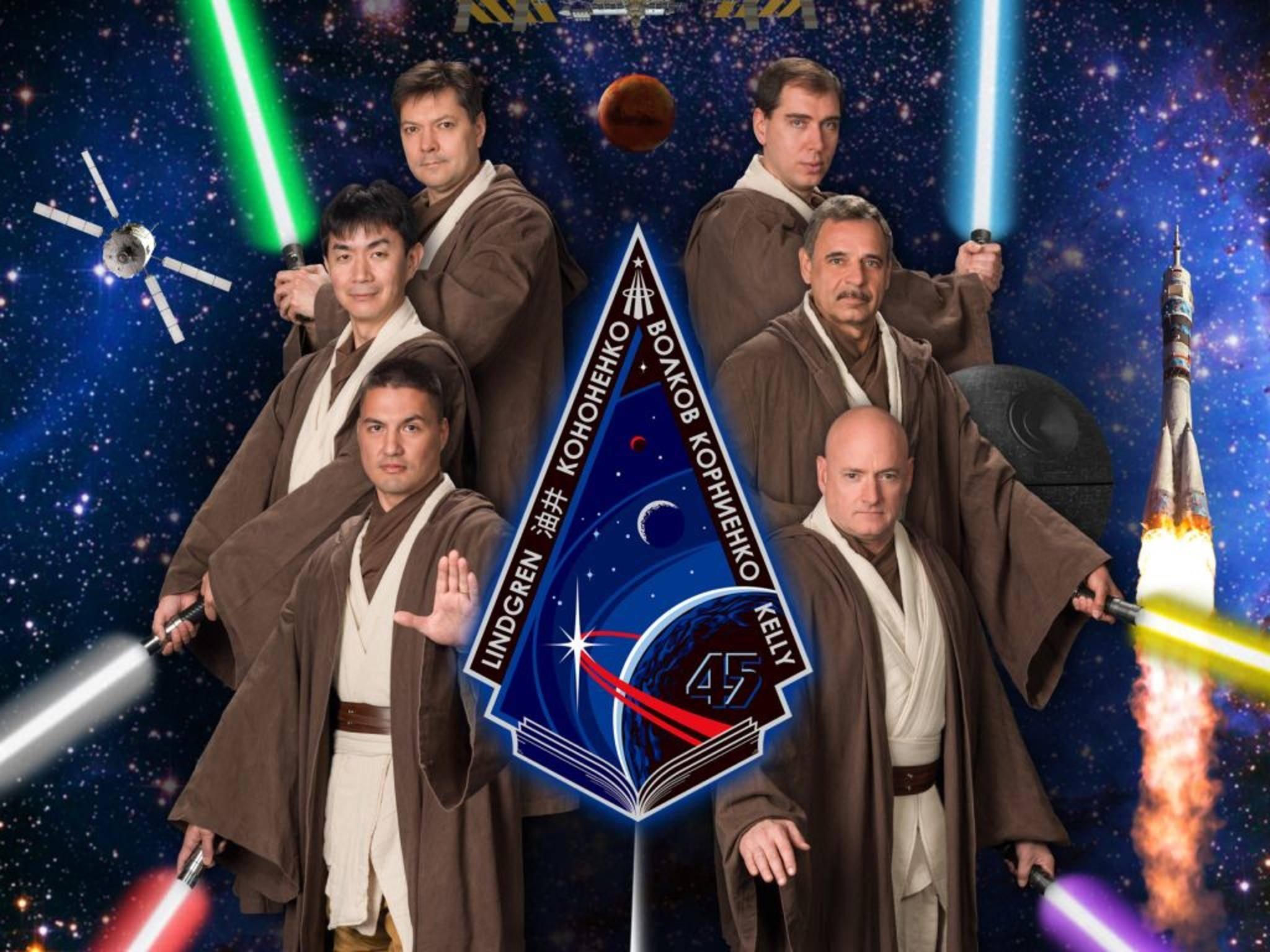 """""""Das sind sehr wohl die Astronauten, die ihr sucht!"""" Die NASA-Crew als Jedi-Ritter."""