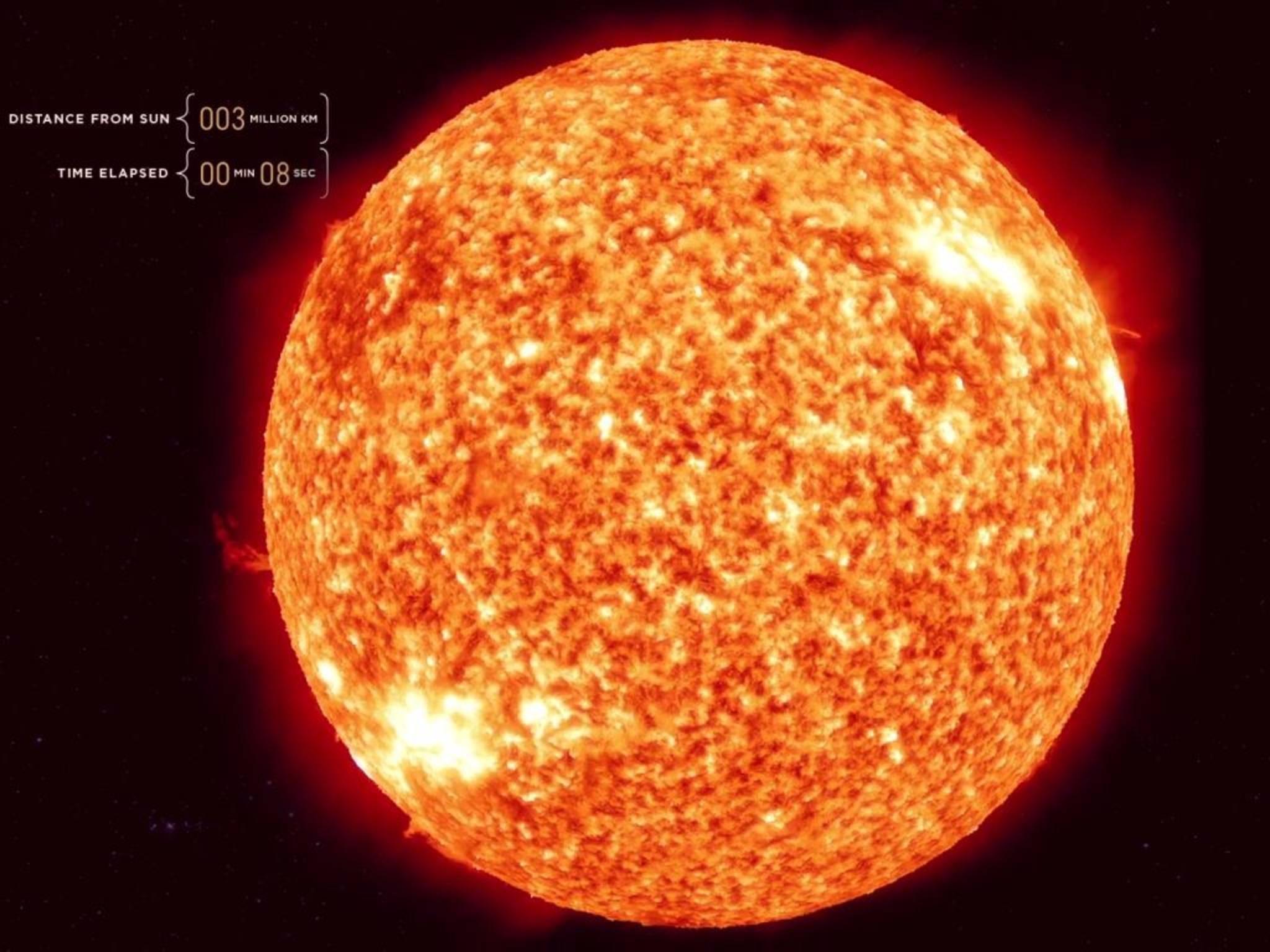 Der Flug durch unser Sonnensystem beginnt bei der Sonne.