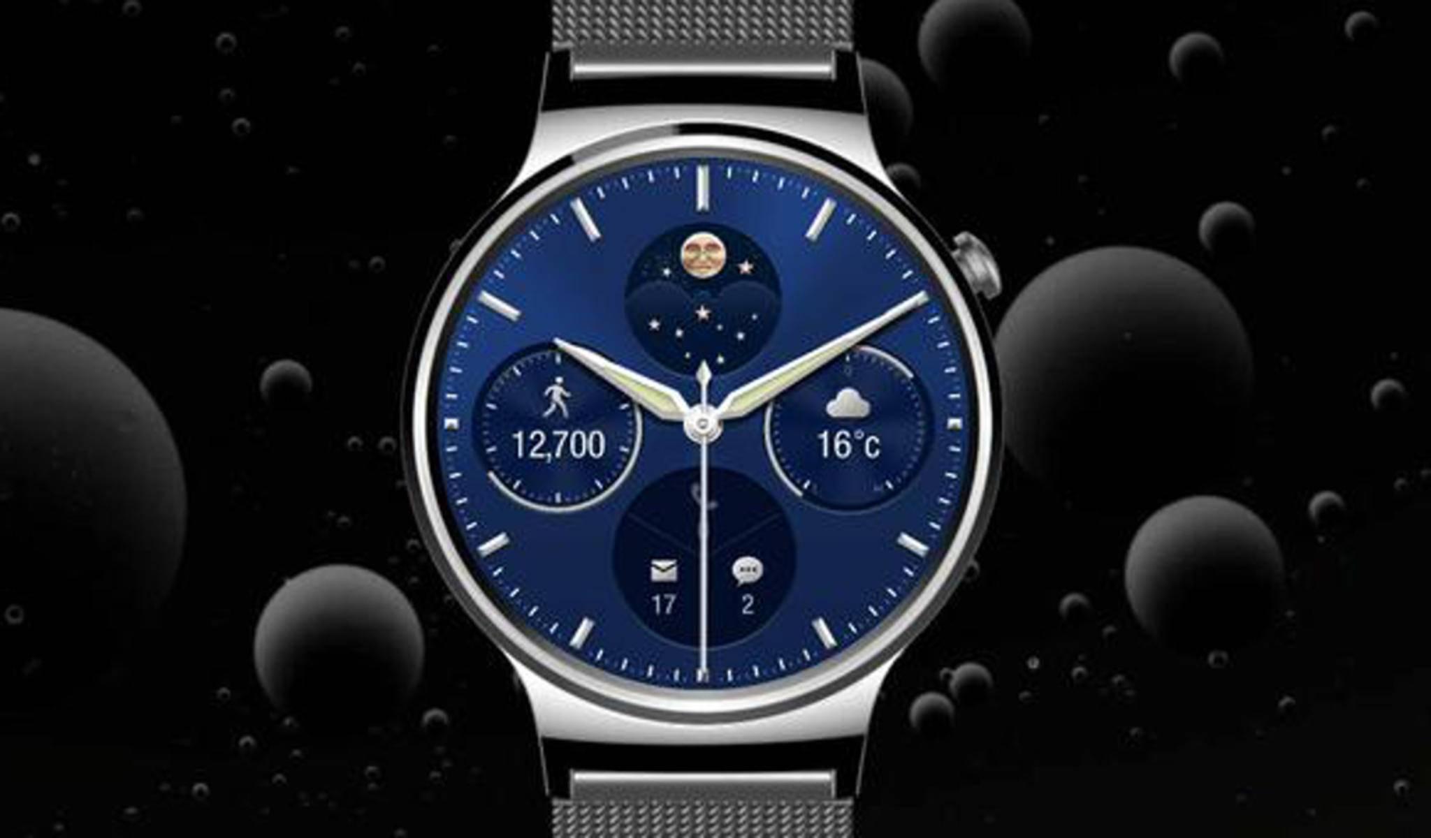 Die Huawei Watch erinnert an eine klassische Armbanduhr.