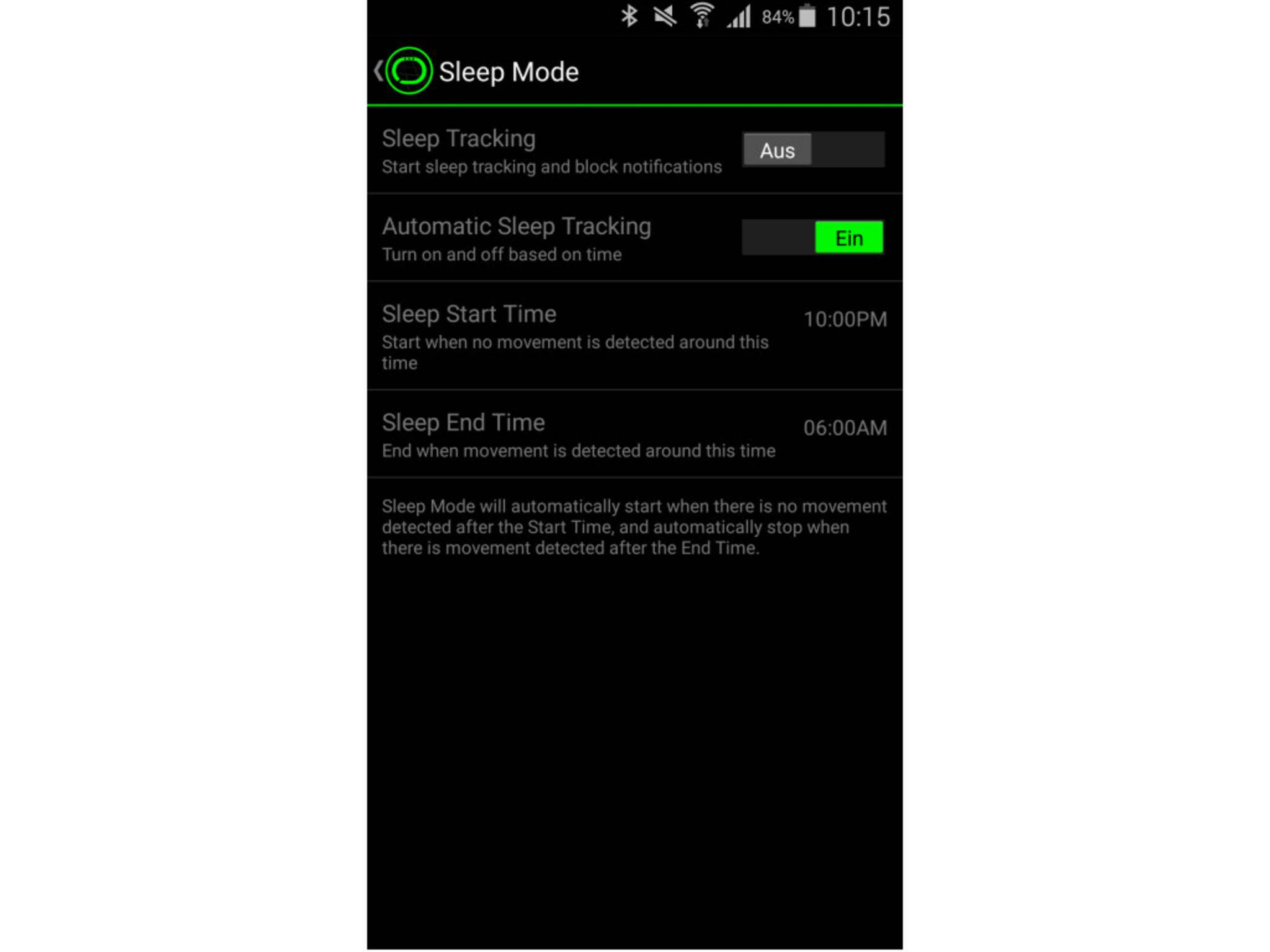 Hier lässt sich der Schlafmodus manuell oder automatisch aktivieren.