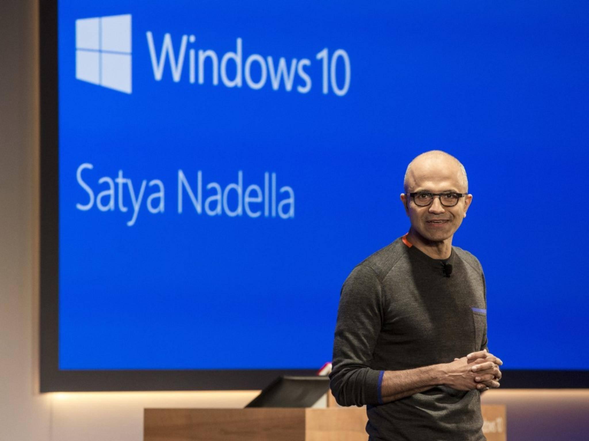Microsoft-Chef Satya Nadella möchte mit Windows 10 punkten.