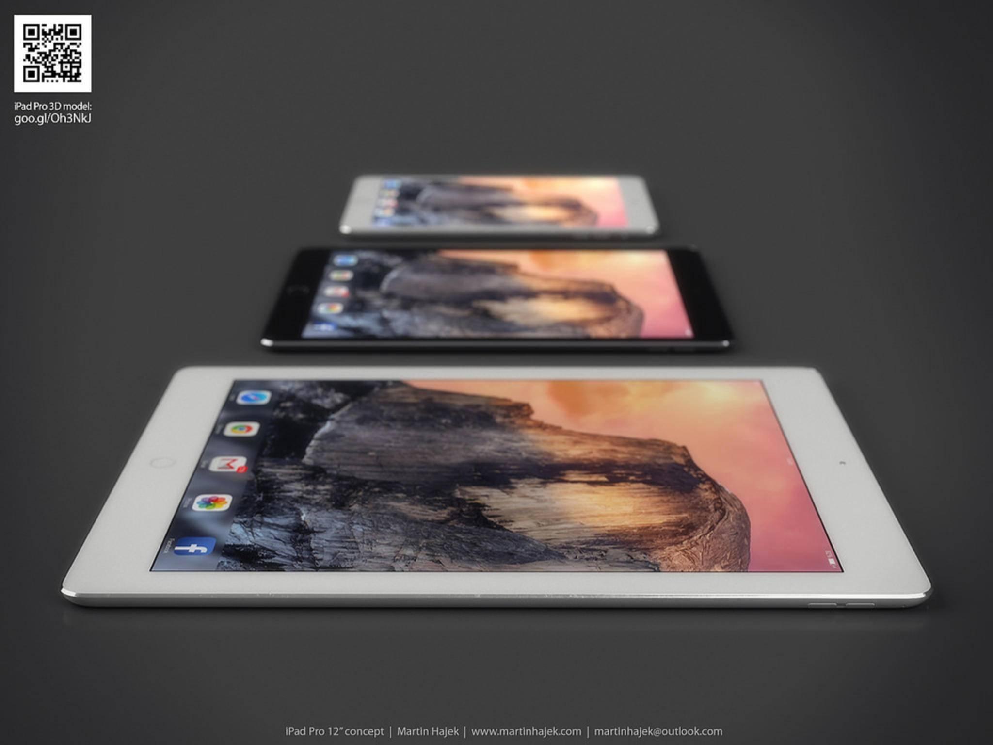 Konzept-Vergleich von iPad mini 3, iPad Air 2 und iPad Pro.