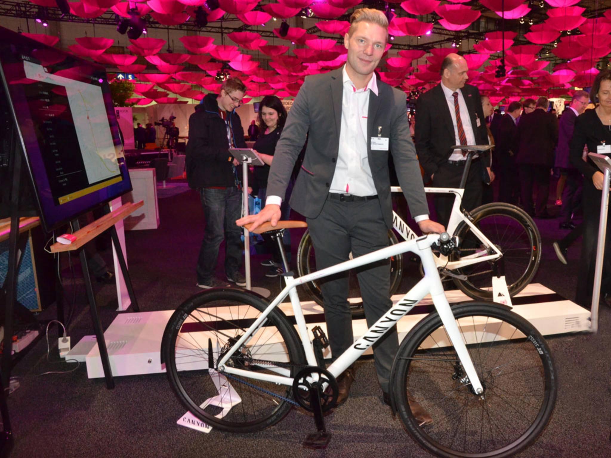 Das connected bike der Telekom auf der CeBIT.