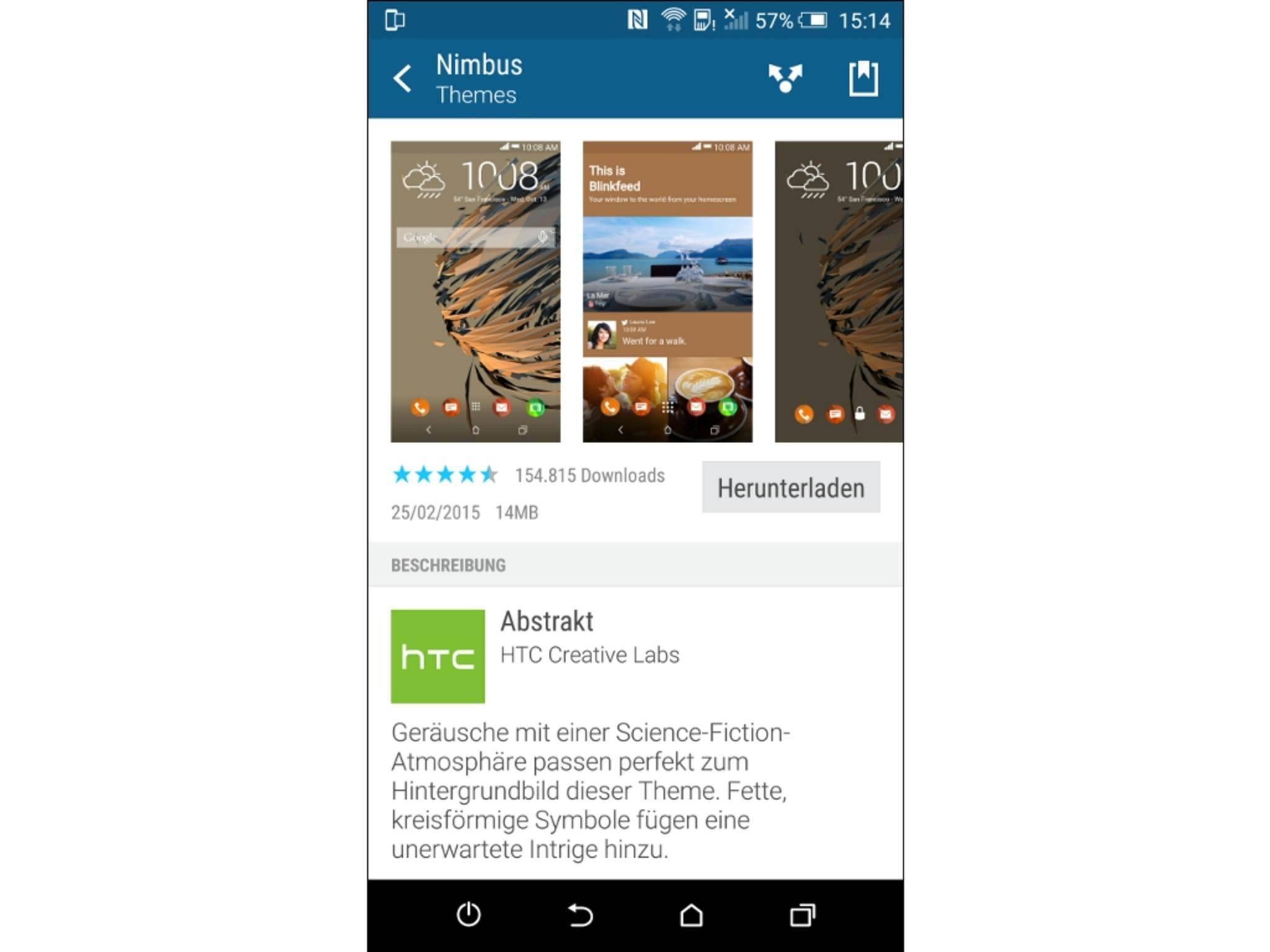 Die Benutzeroberfläche des HTC One M9 lässt sich mit den Themes individuell anpassen.