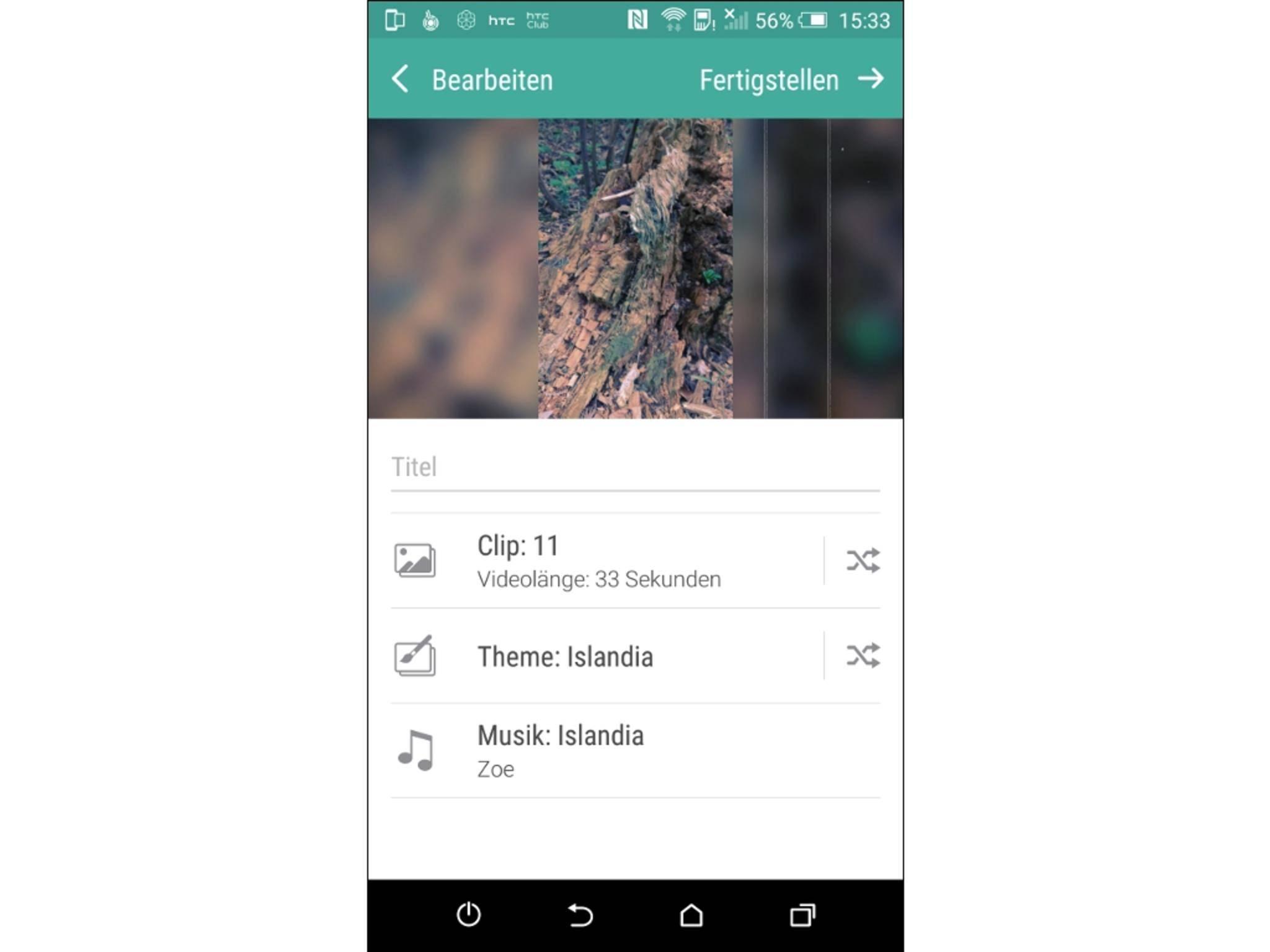 Mit HTC Zoe kannst Du aus Bildern kleine Videos erstellen.
