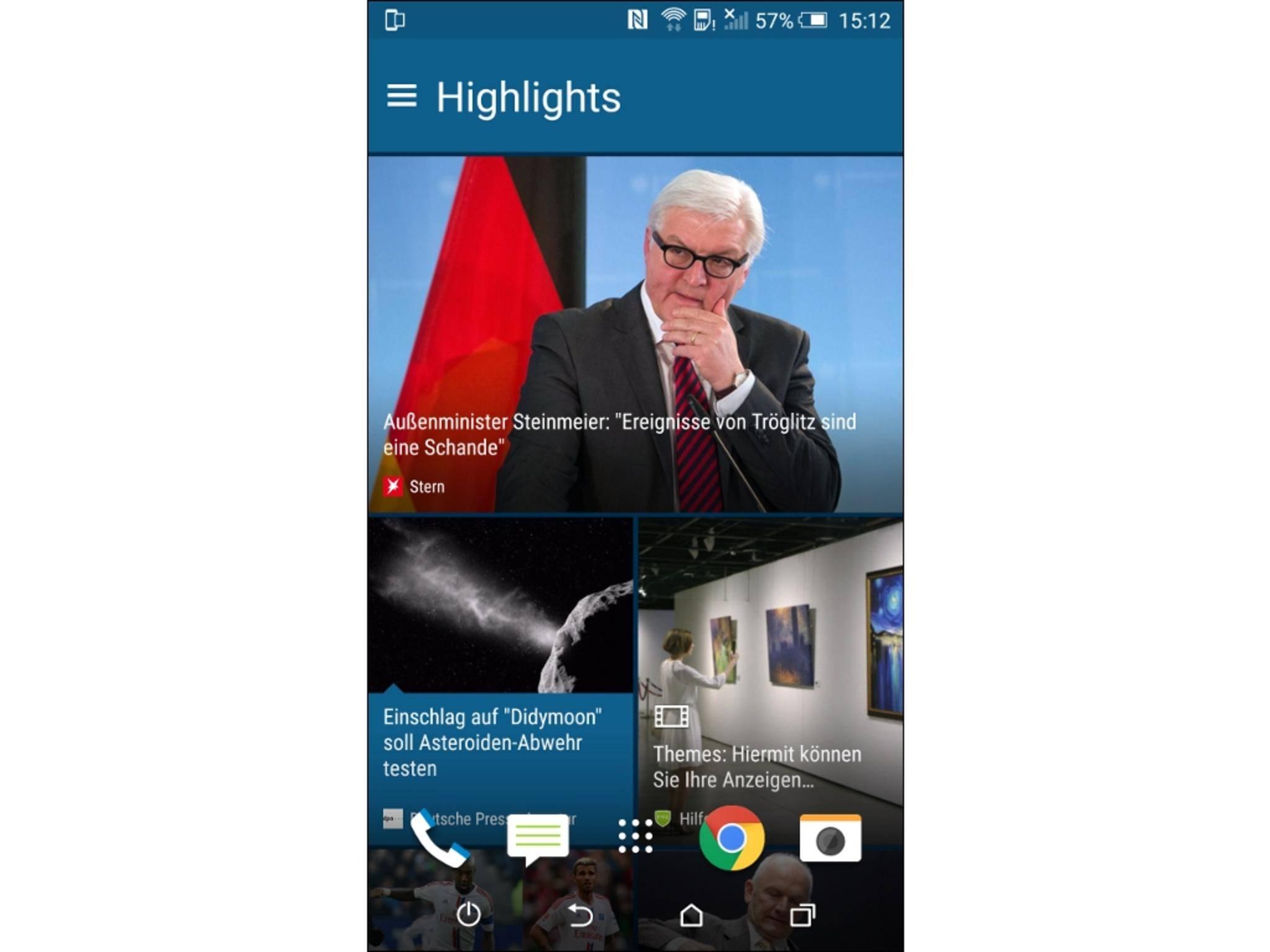 Der Blinkfeed zeigt Dir aktuelle Nachrichten, Kalendereinträge und andere Neuigkeiten an.