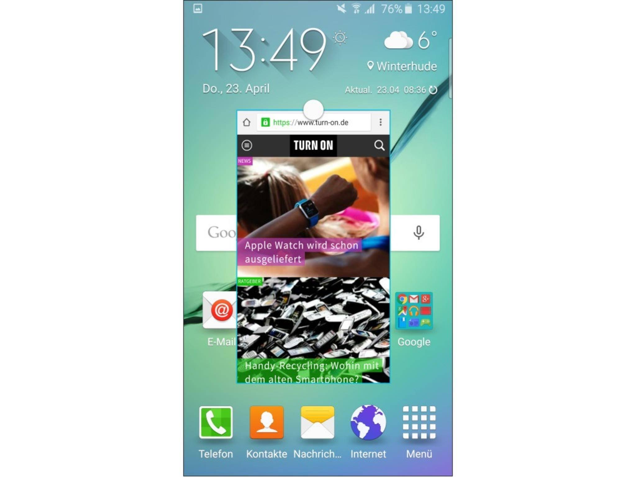 Eine einzelne App kann auch als Pop-up-Fenster genutzt werden.