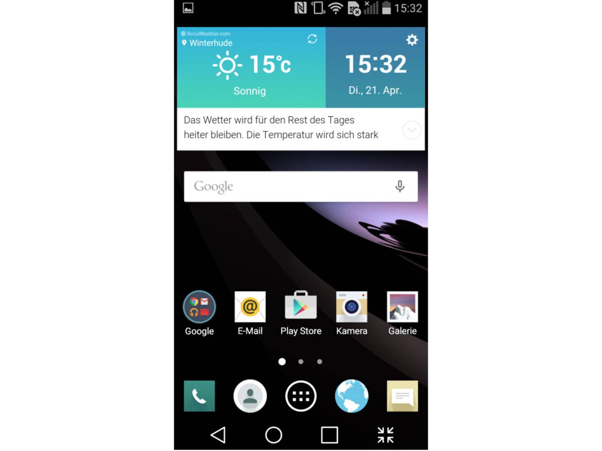 Vorinstalliert sind Android 5.0.1 und LGs Benutzeroberfläche.