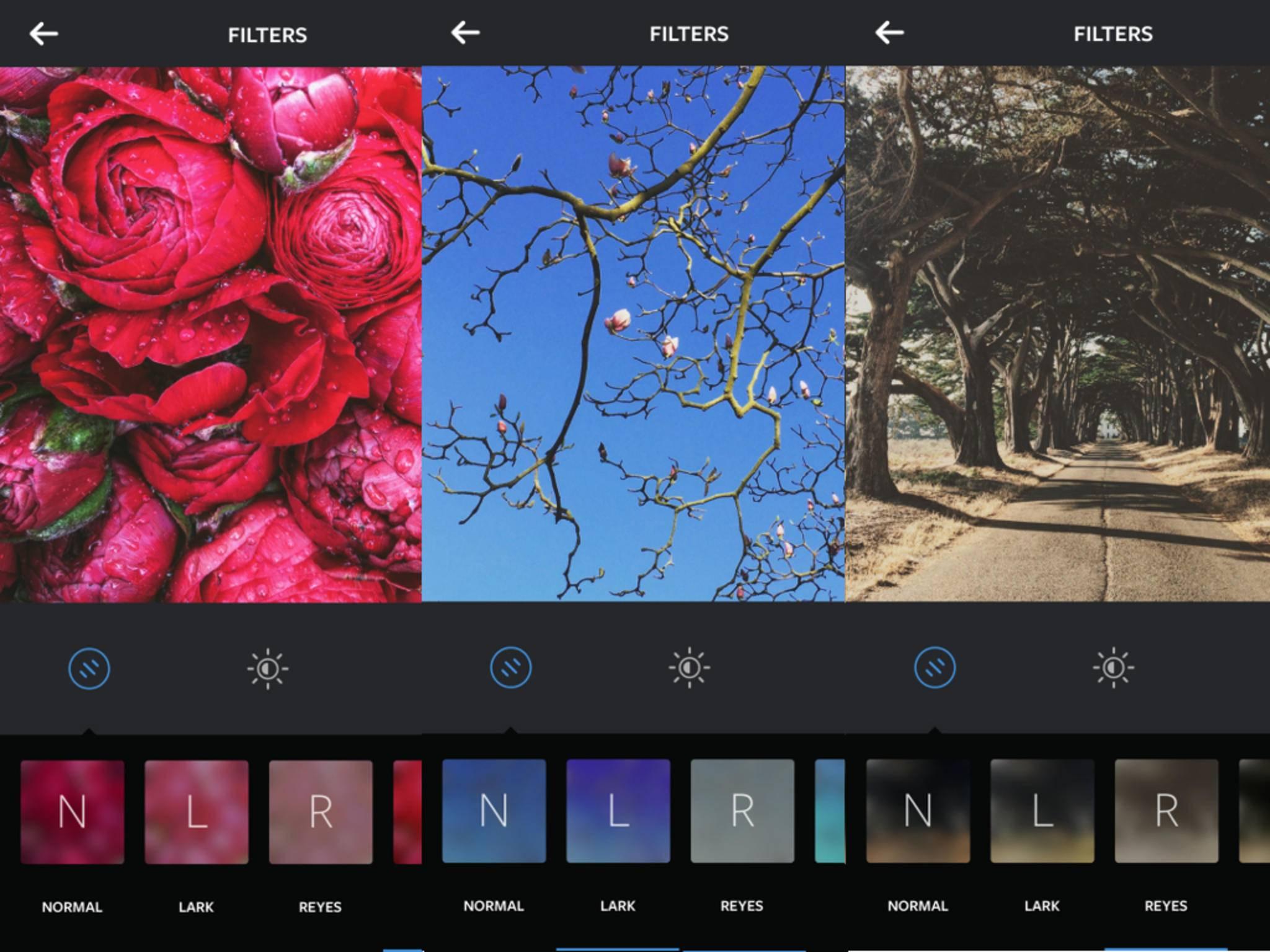 Die drei neuen Instagram-Filter heißen Lark, Reyes und Juno.