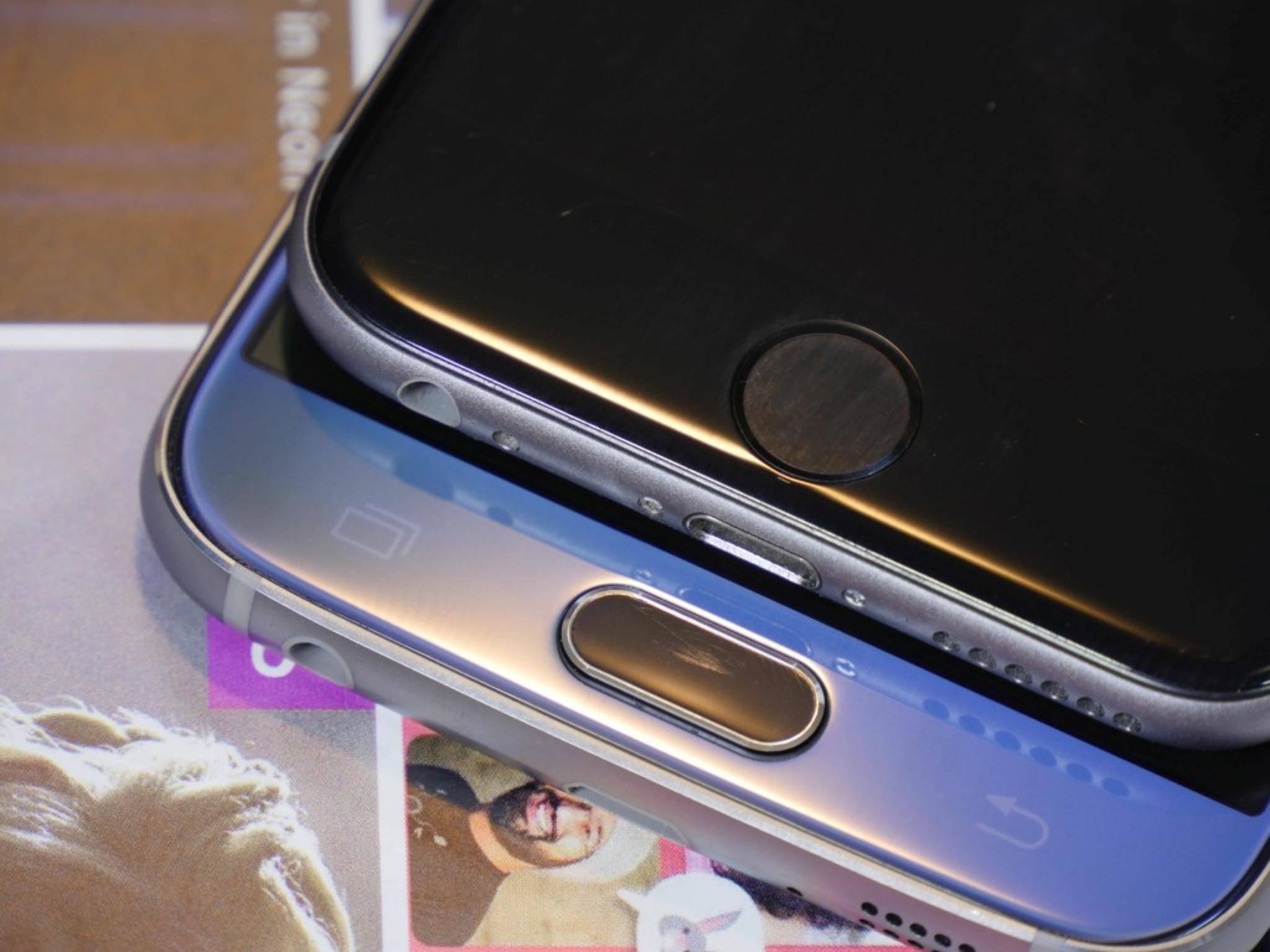 Schon beim Home-Button gehen Apple und Samsung unterschiedliche Wege.