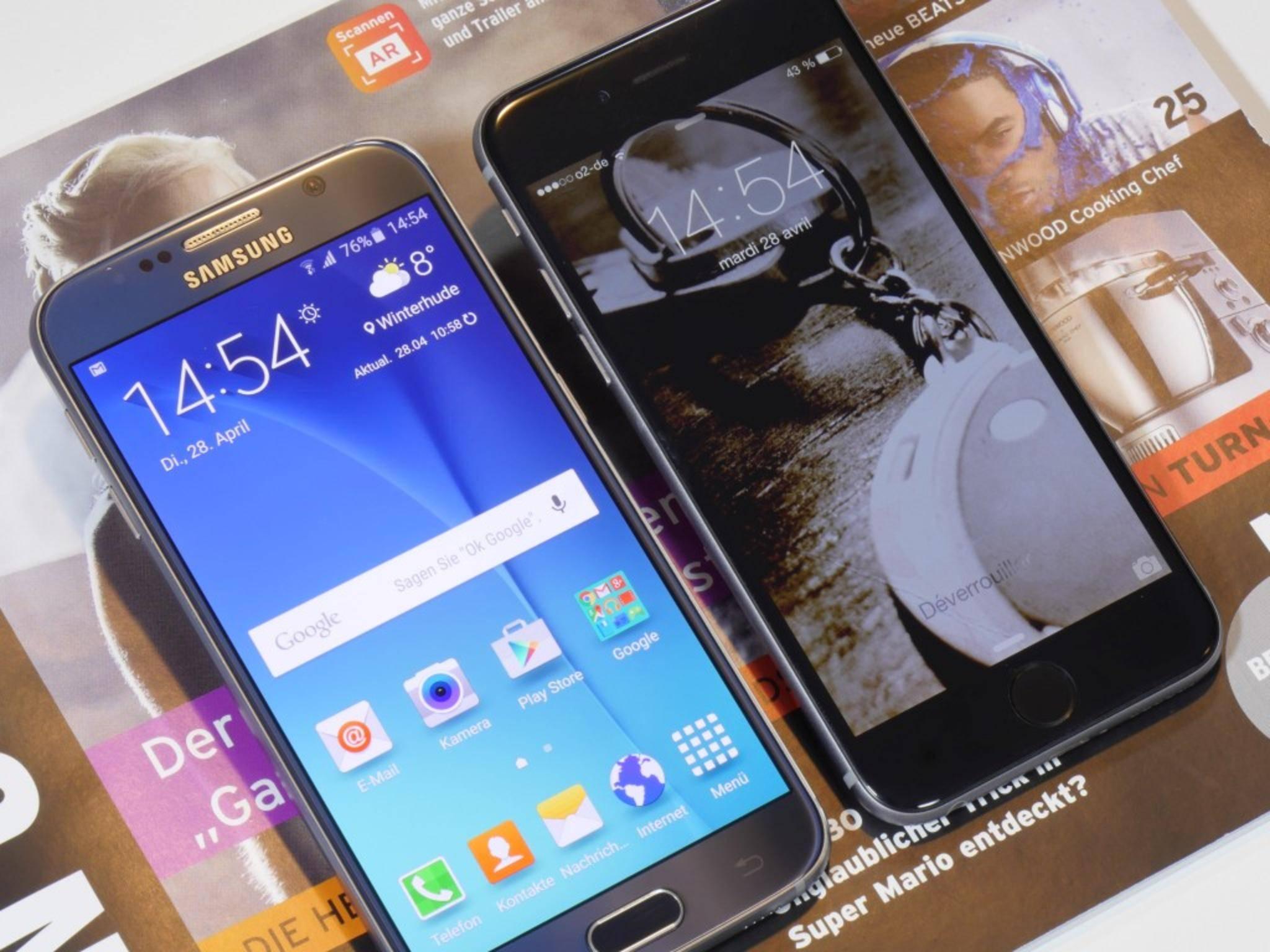 Das Galaxy S6 übertrumpft das Apple iPhone 6 deutlich im Benchmark-Test.