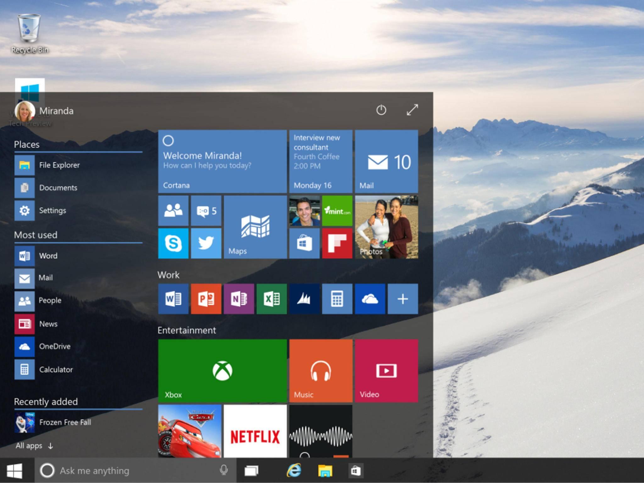 Der neue Startbildschirm vereint Elemente aus Windows 7 und 8.